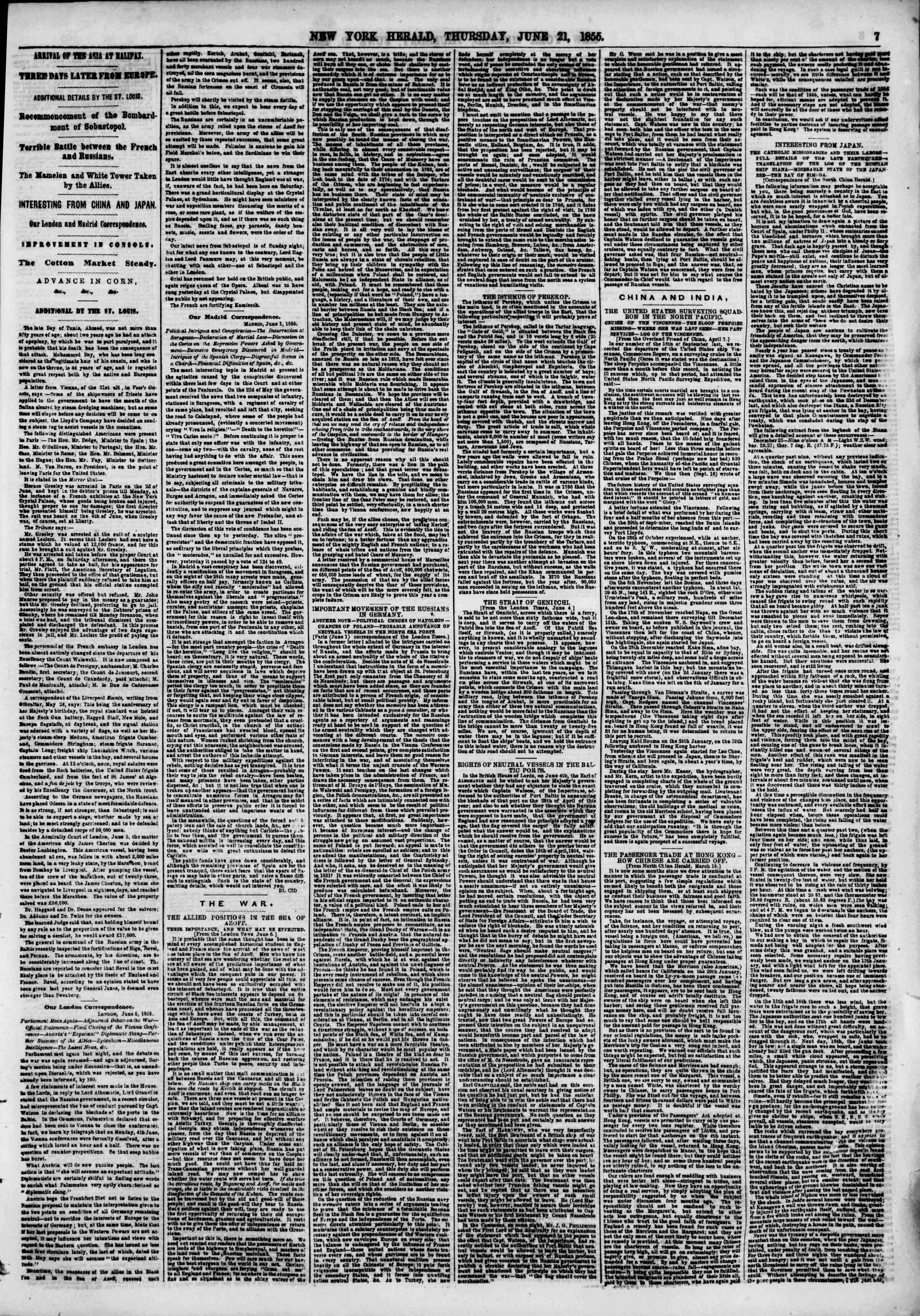 Newspaper of The New York Herald dated June 21, 1855 Page 14