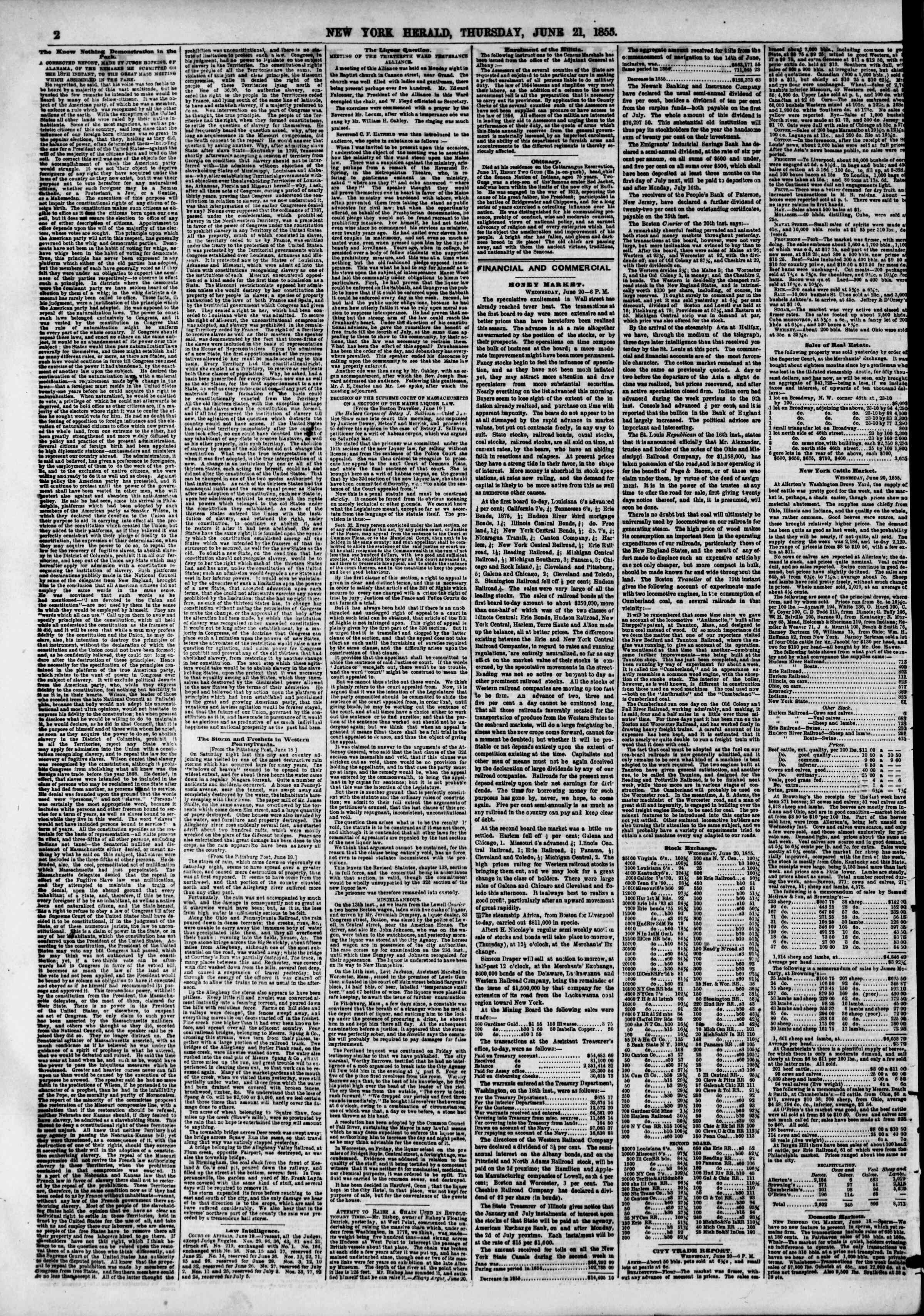 Newspaper of The New York Herald dated June 21, 1855 Page 3
