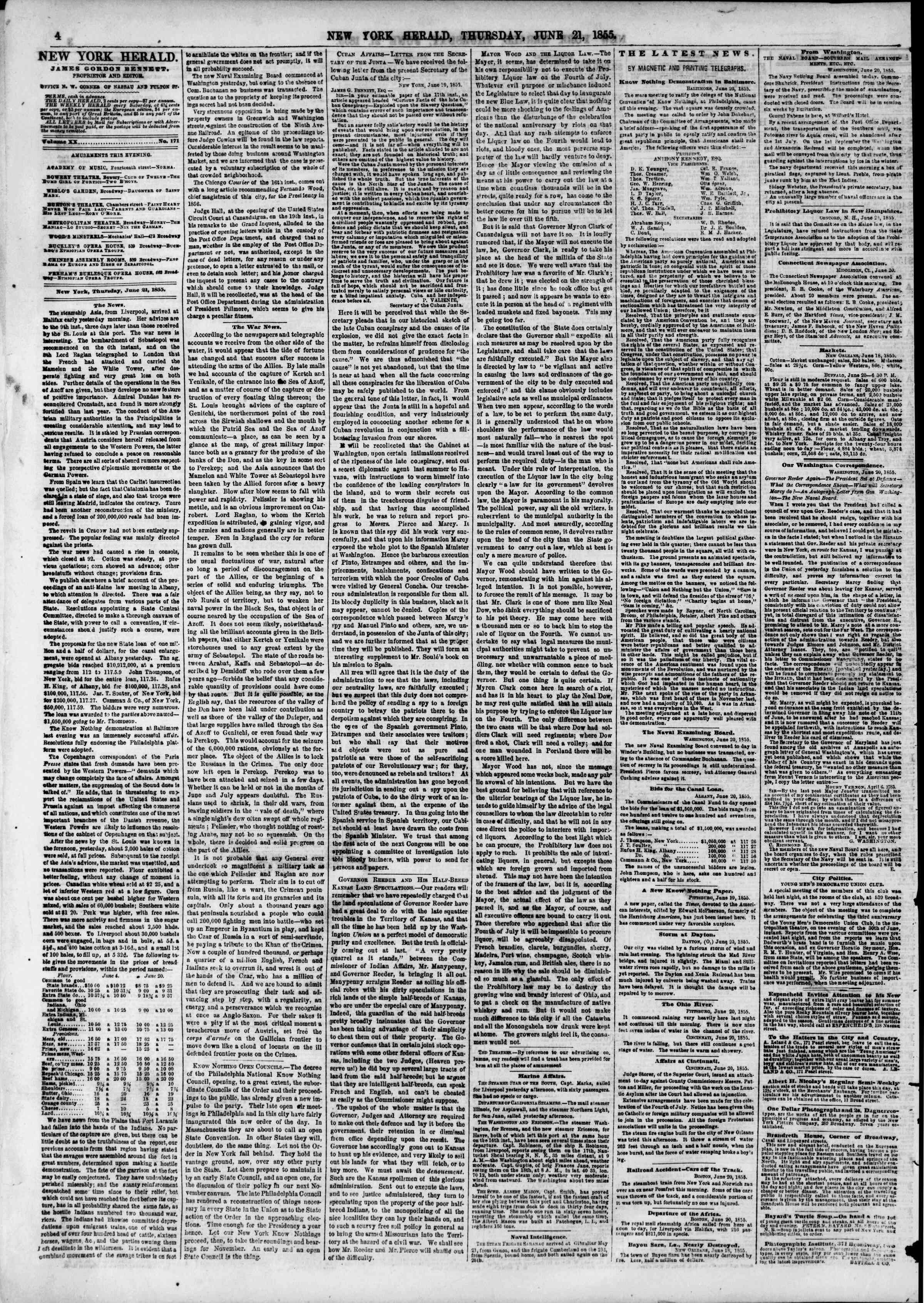 Newspaper of The New York Herald dated June 21, 1855 Page 8