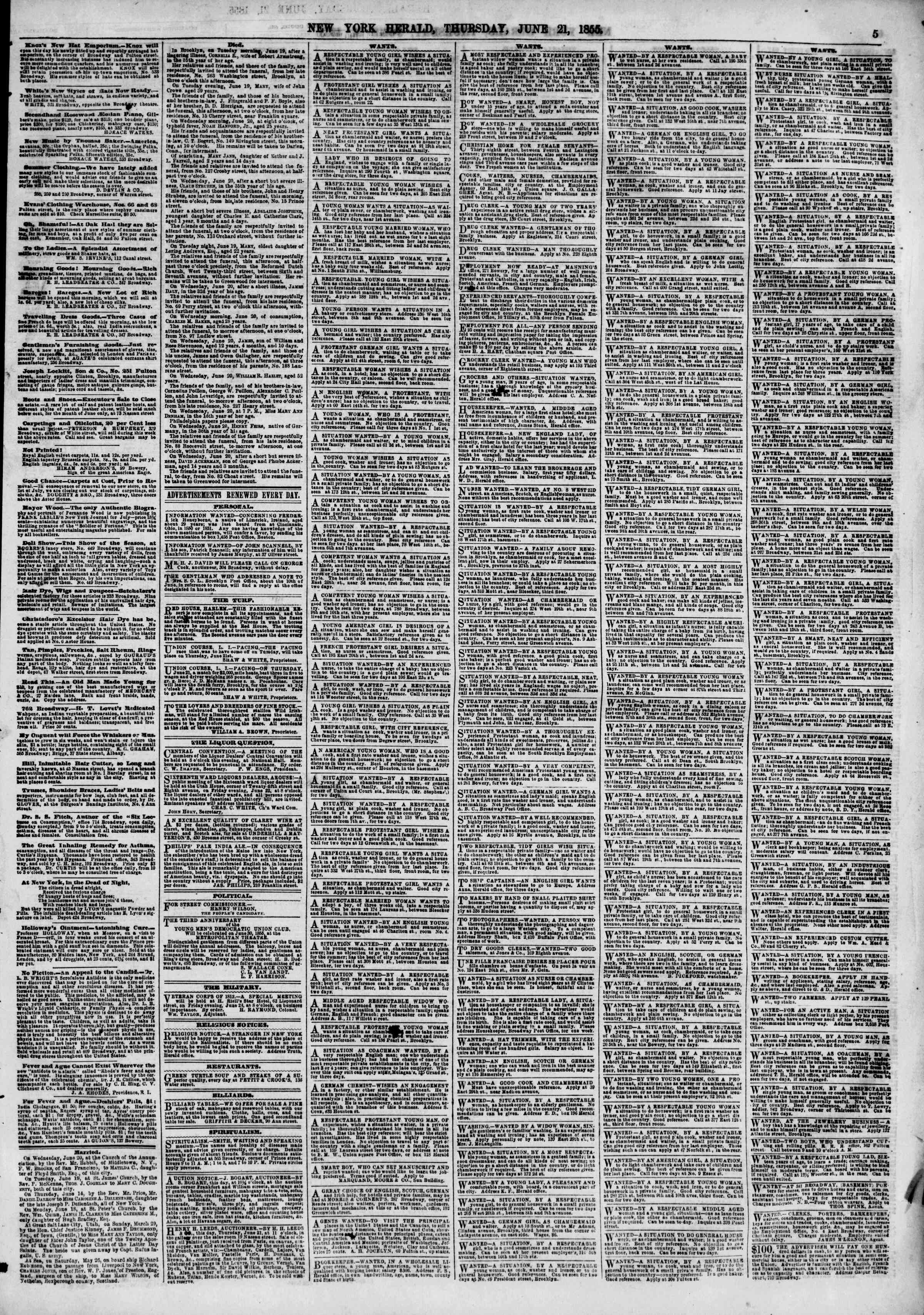 Newspaper of The New York Herald dated June 21, 1855 Page 10