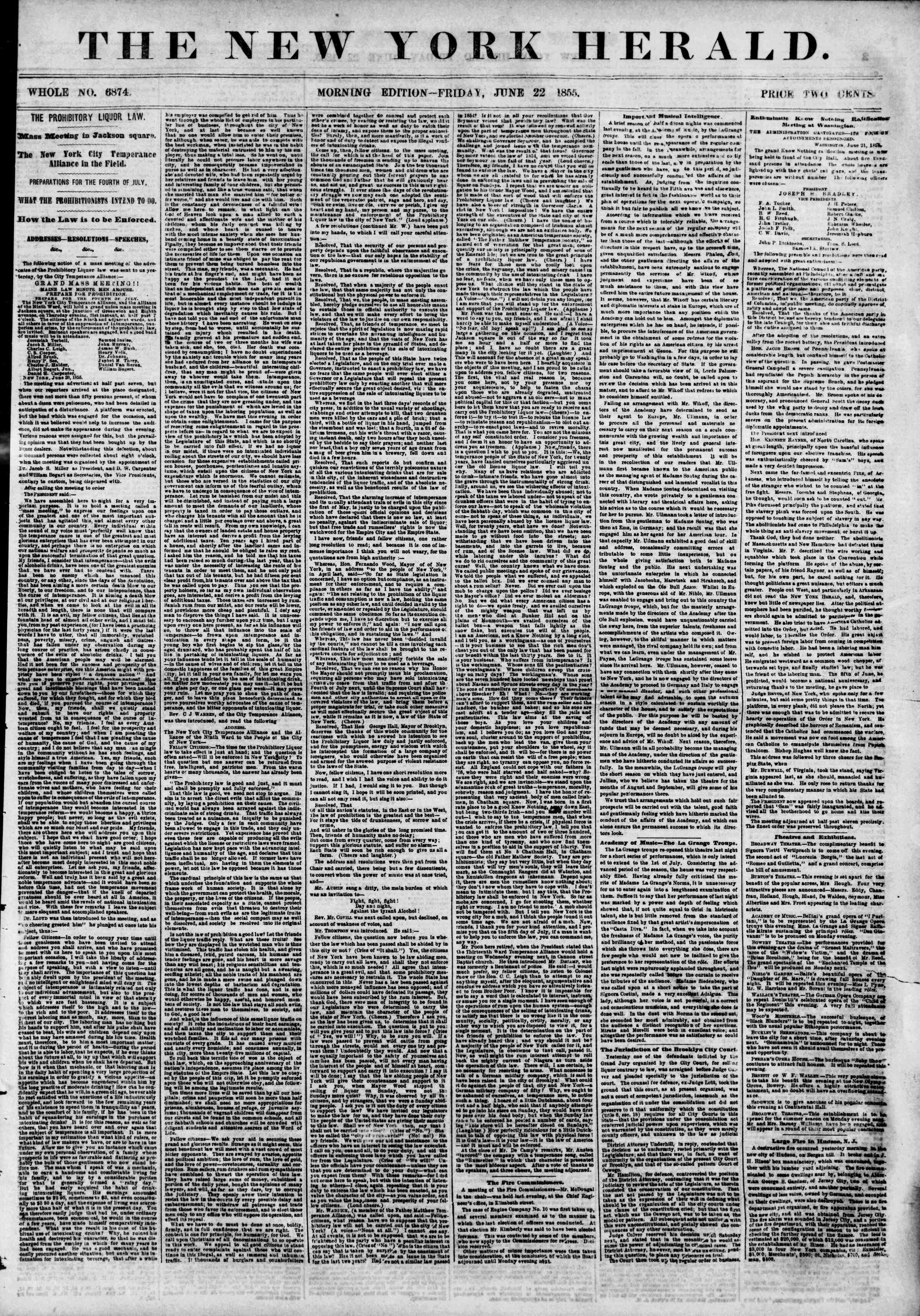 Newspaper of The New York Herald dated June 22, 1855 Page 1