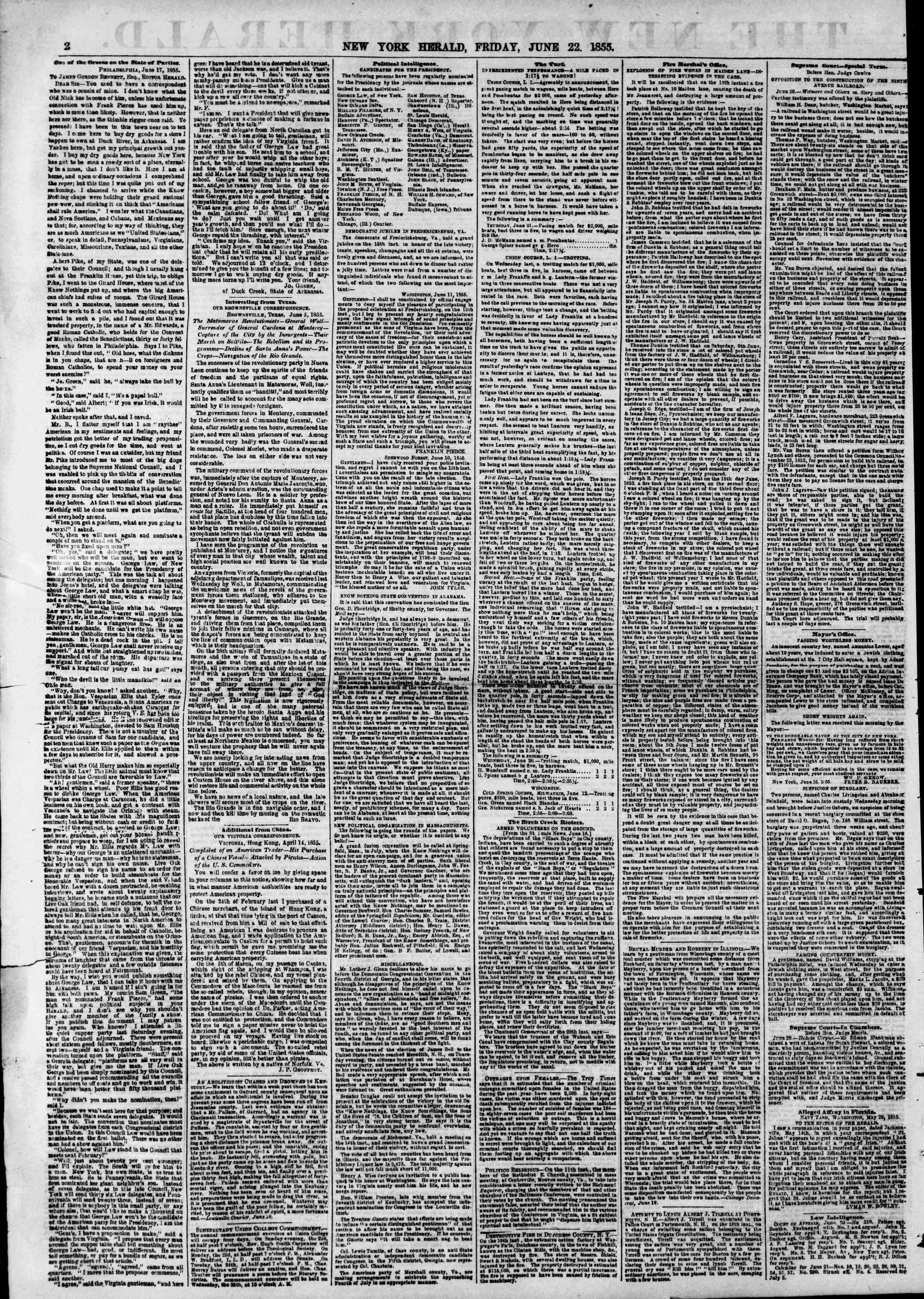 Newspaper of The New York Herald dated June 22, 1855 Page 2