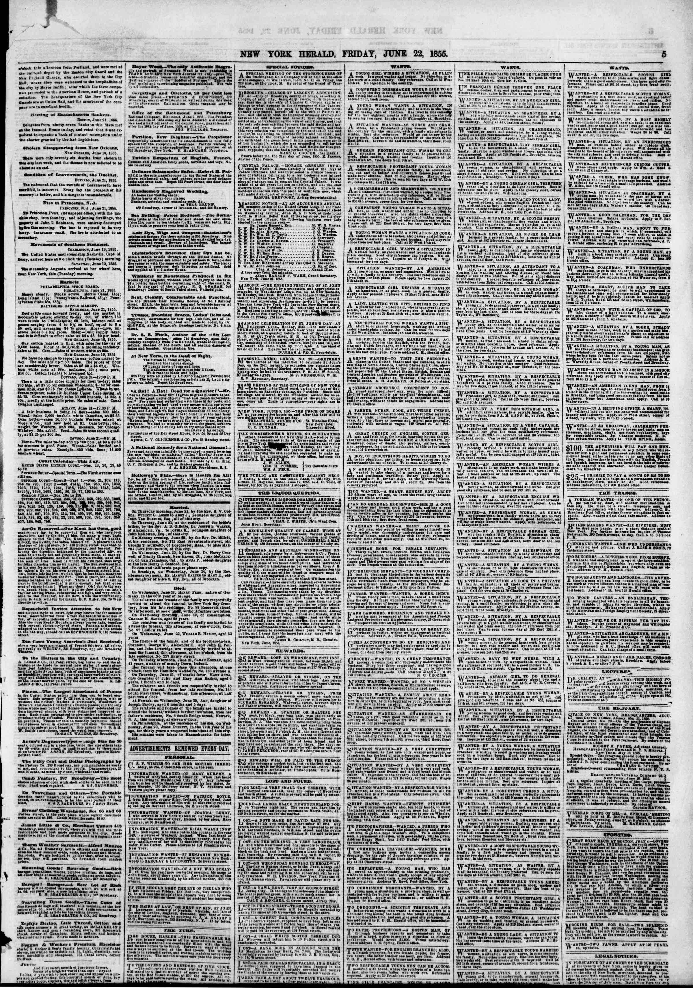 Newspaper of The New York Herald dated June 22, 1855 Page 5