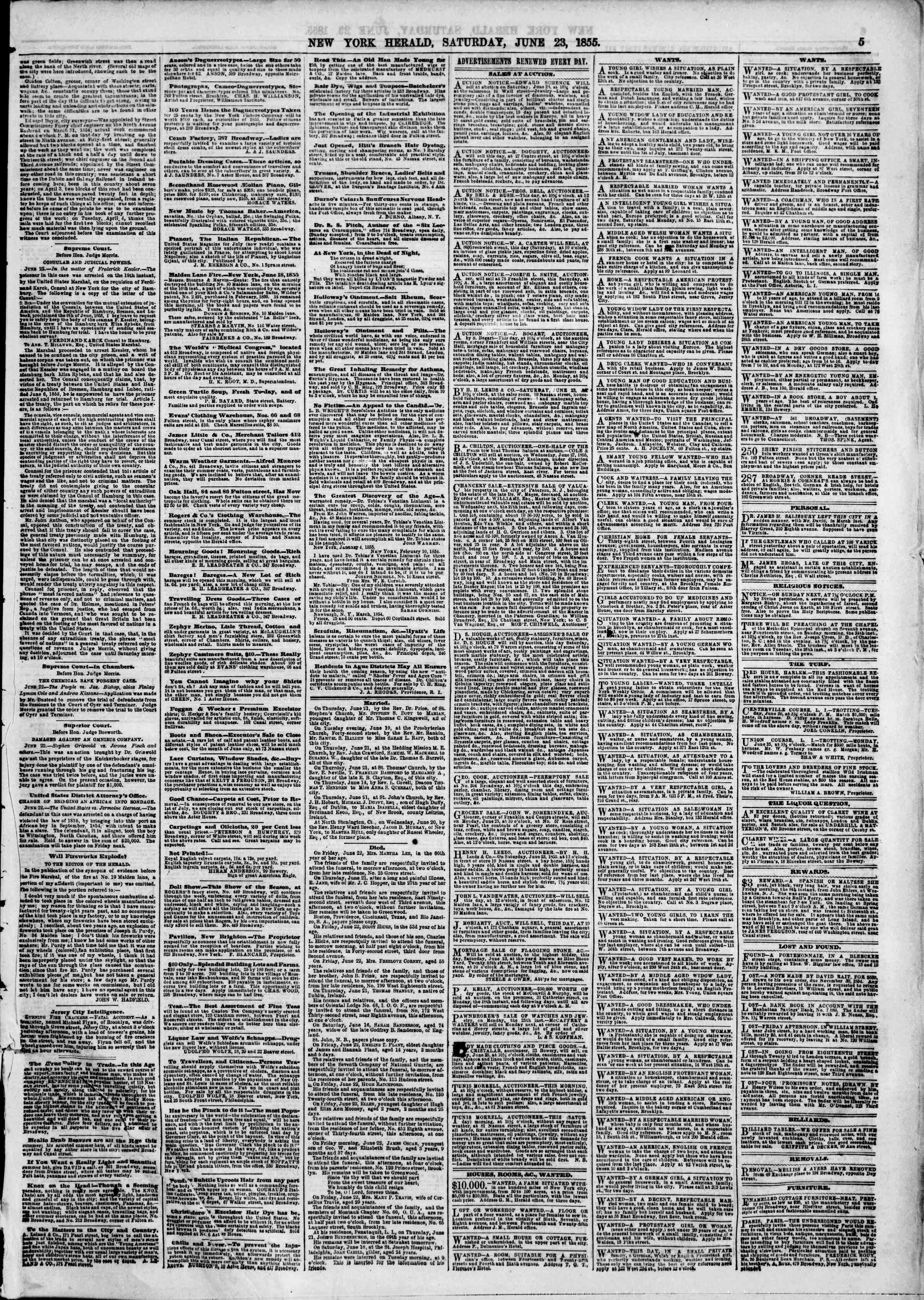Newspaper of The New York Herald dated June 23, 1855 Page 5