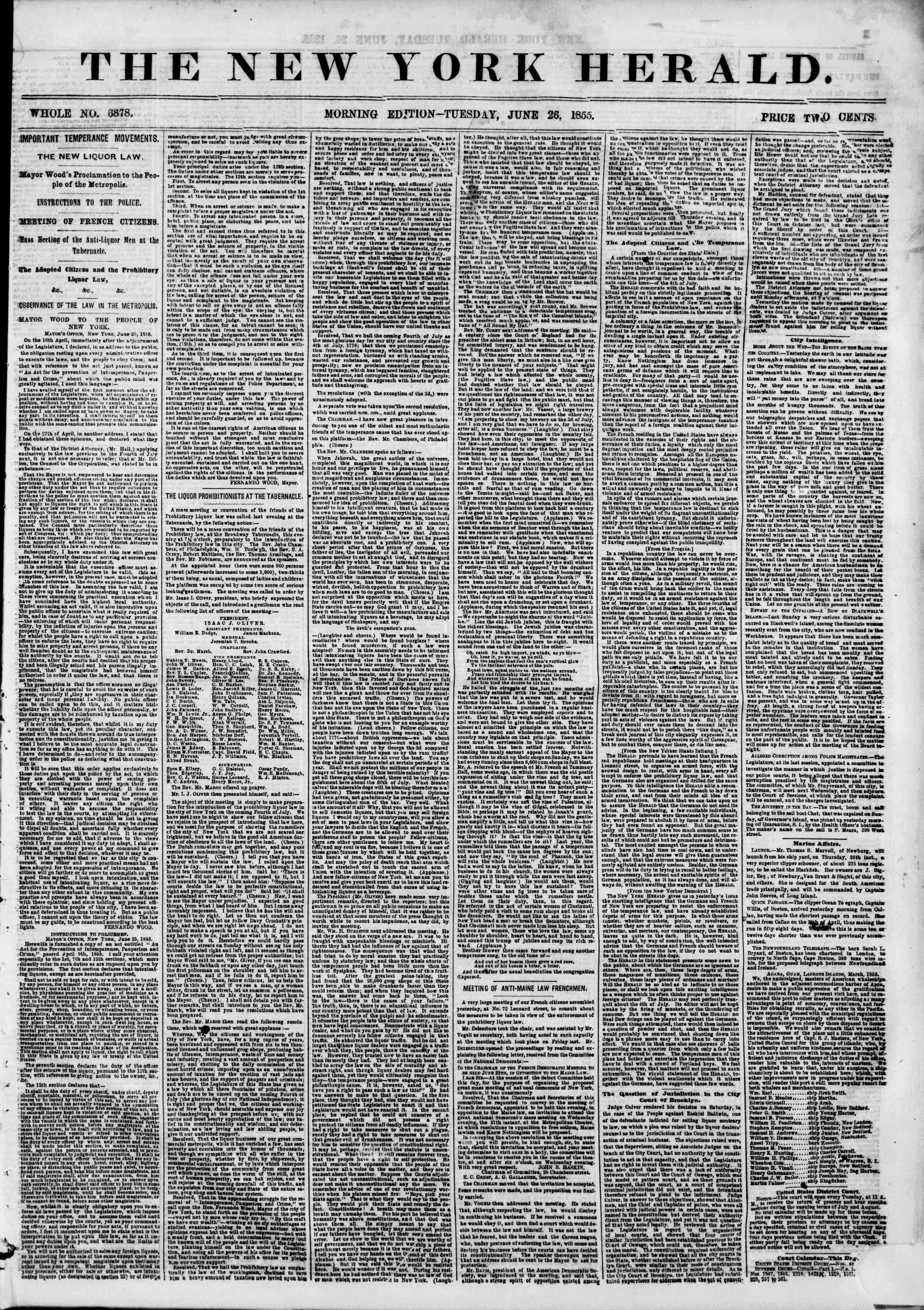 Newspaper of The New York Herald dated June 26, 1855 Page 1
