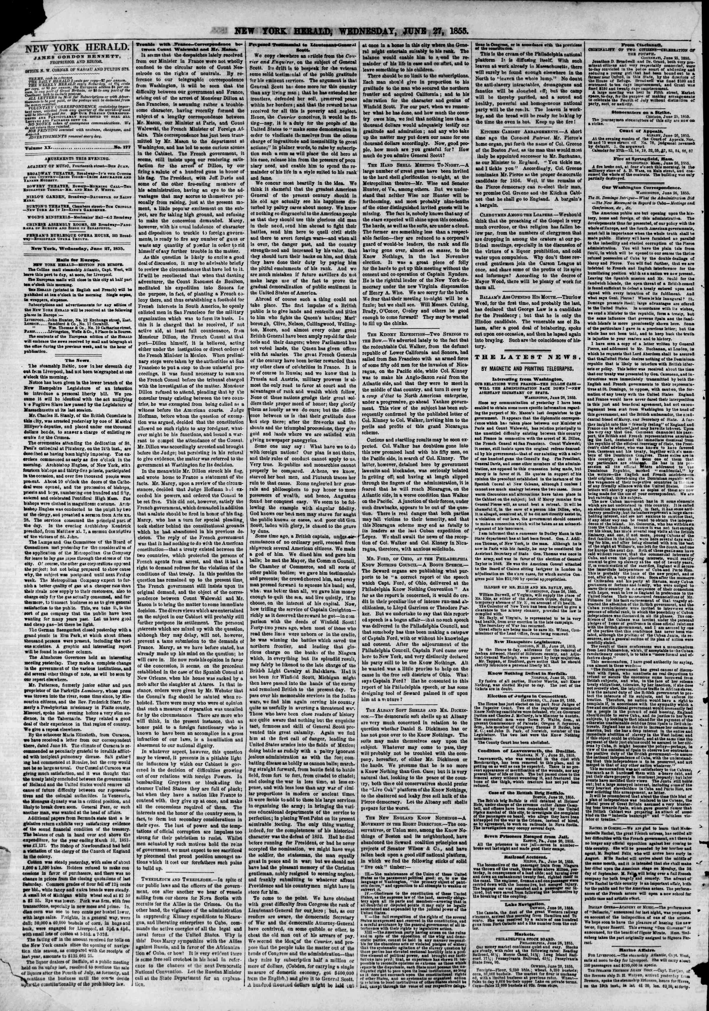 Newspaper of The New York Herald dated June 27, 1855 Page 4