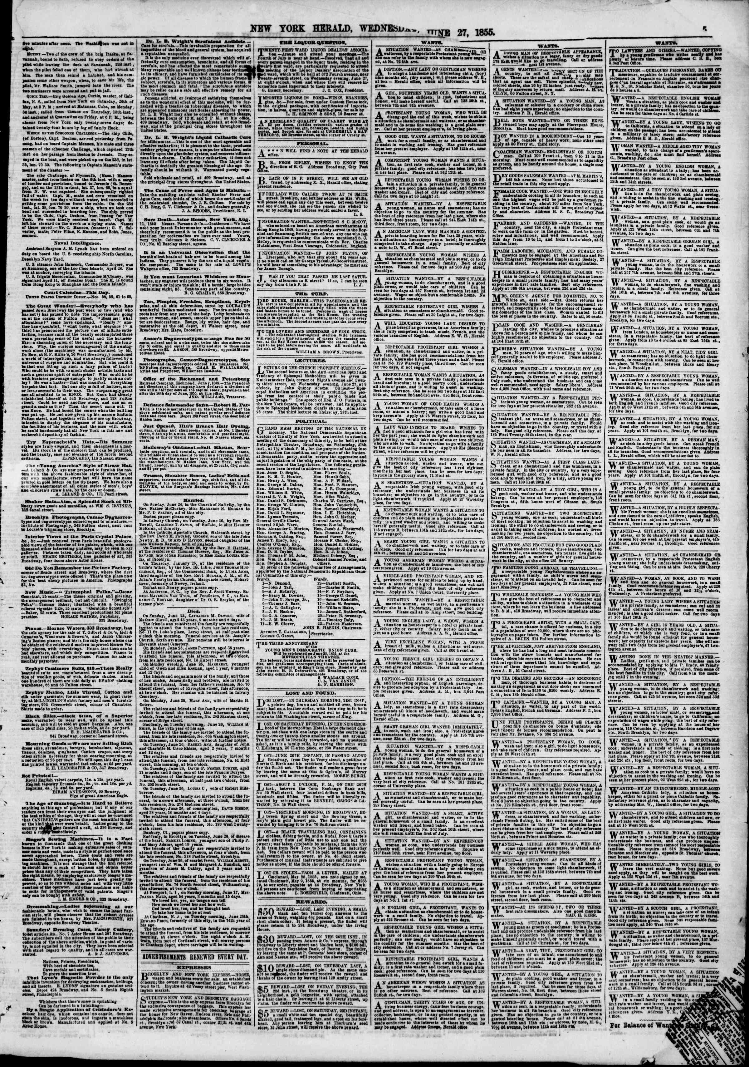 Newspaper of The New York Herald dated June 27, 1855 Page 5