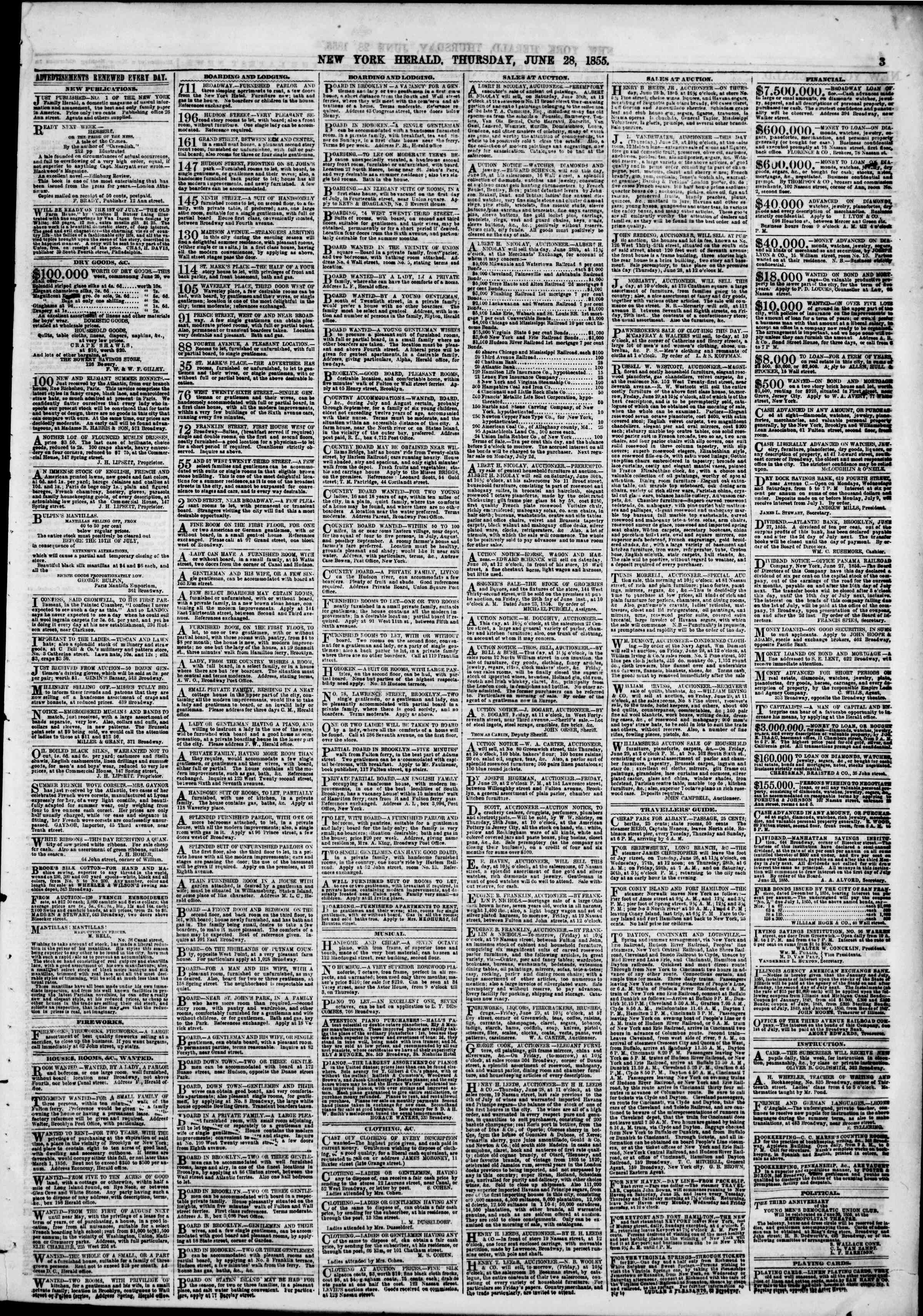 Newspaper of The New York Herald dated June 28, 1855 Page 3