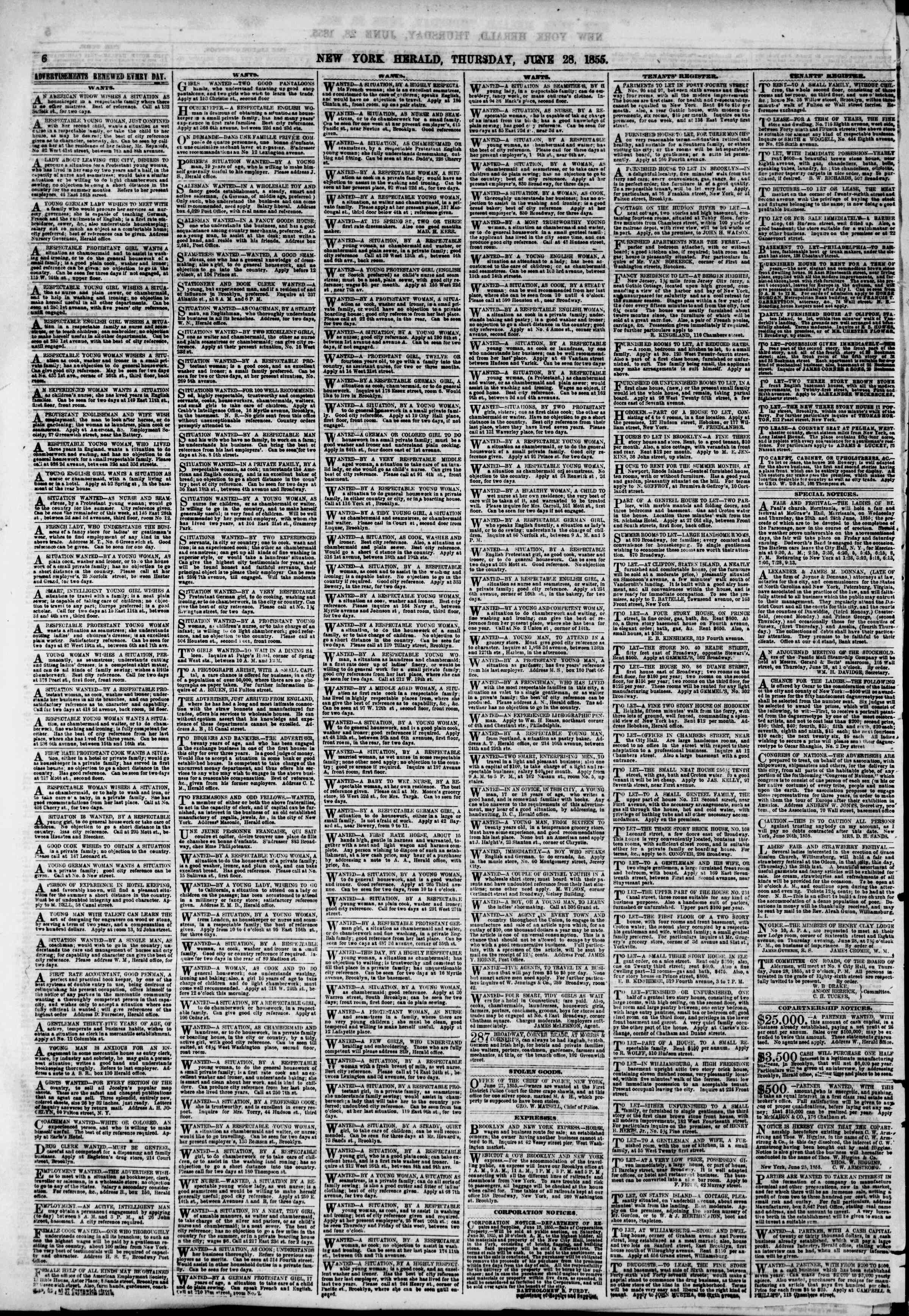 Newspaper of The New York Herald dated June 28, 1855 Page 6