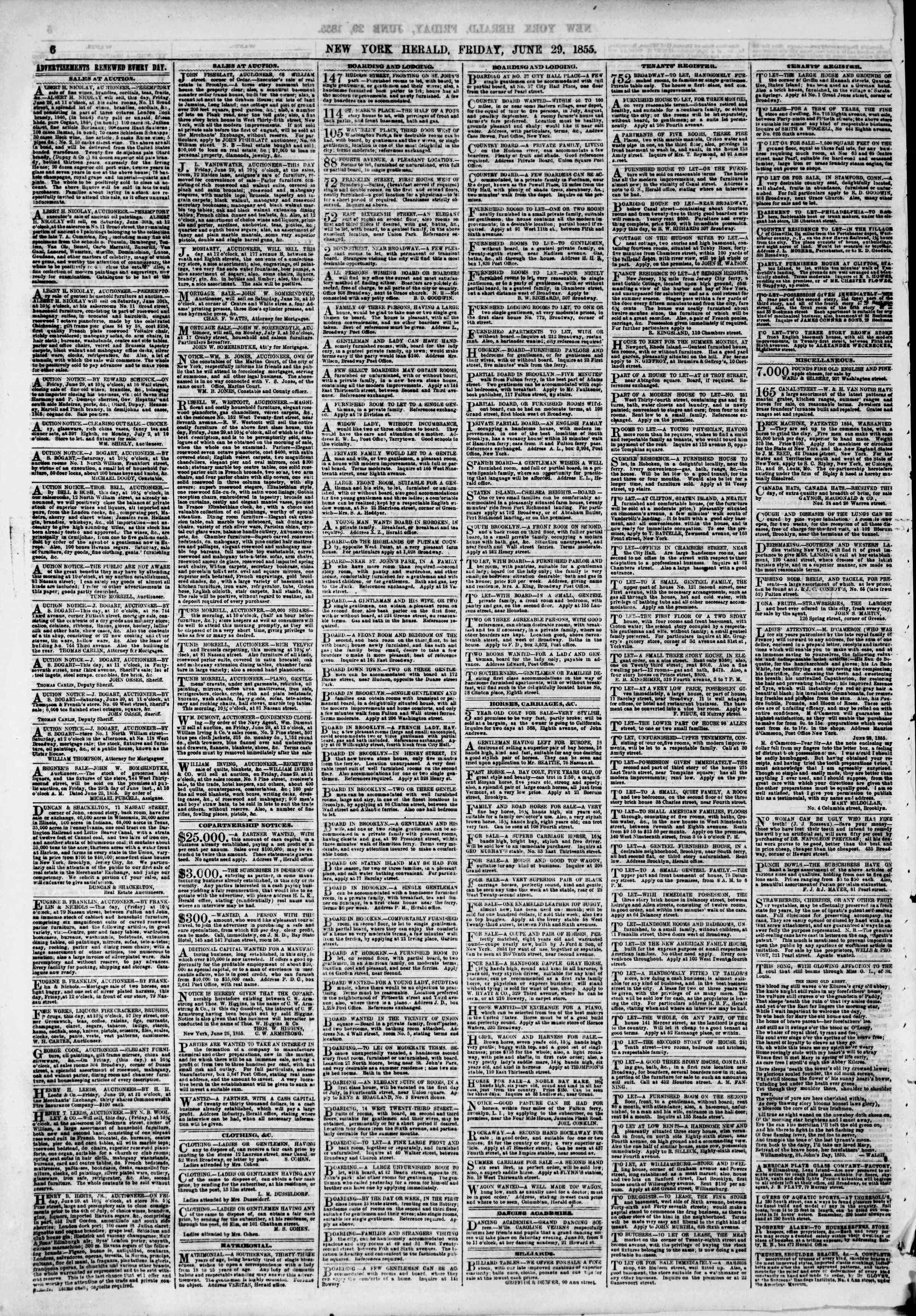 Newspaper of The New York Herald dated June 29, 1855 Page 6