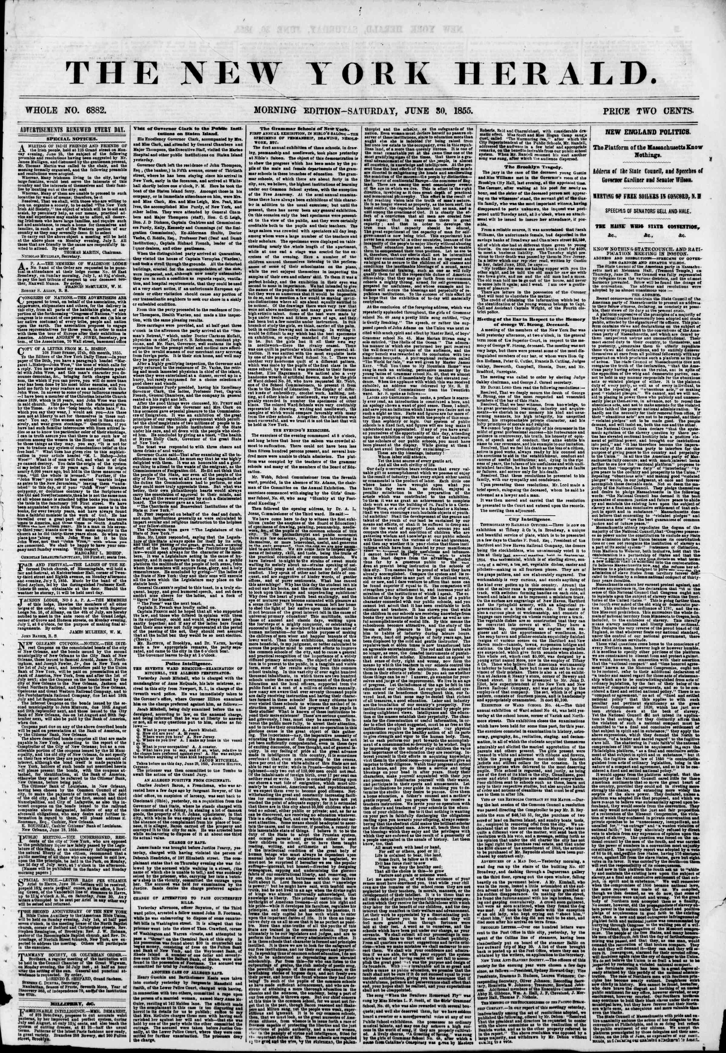 Newspaper of The New York Herald dated June 30, 1855 Page 1