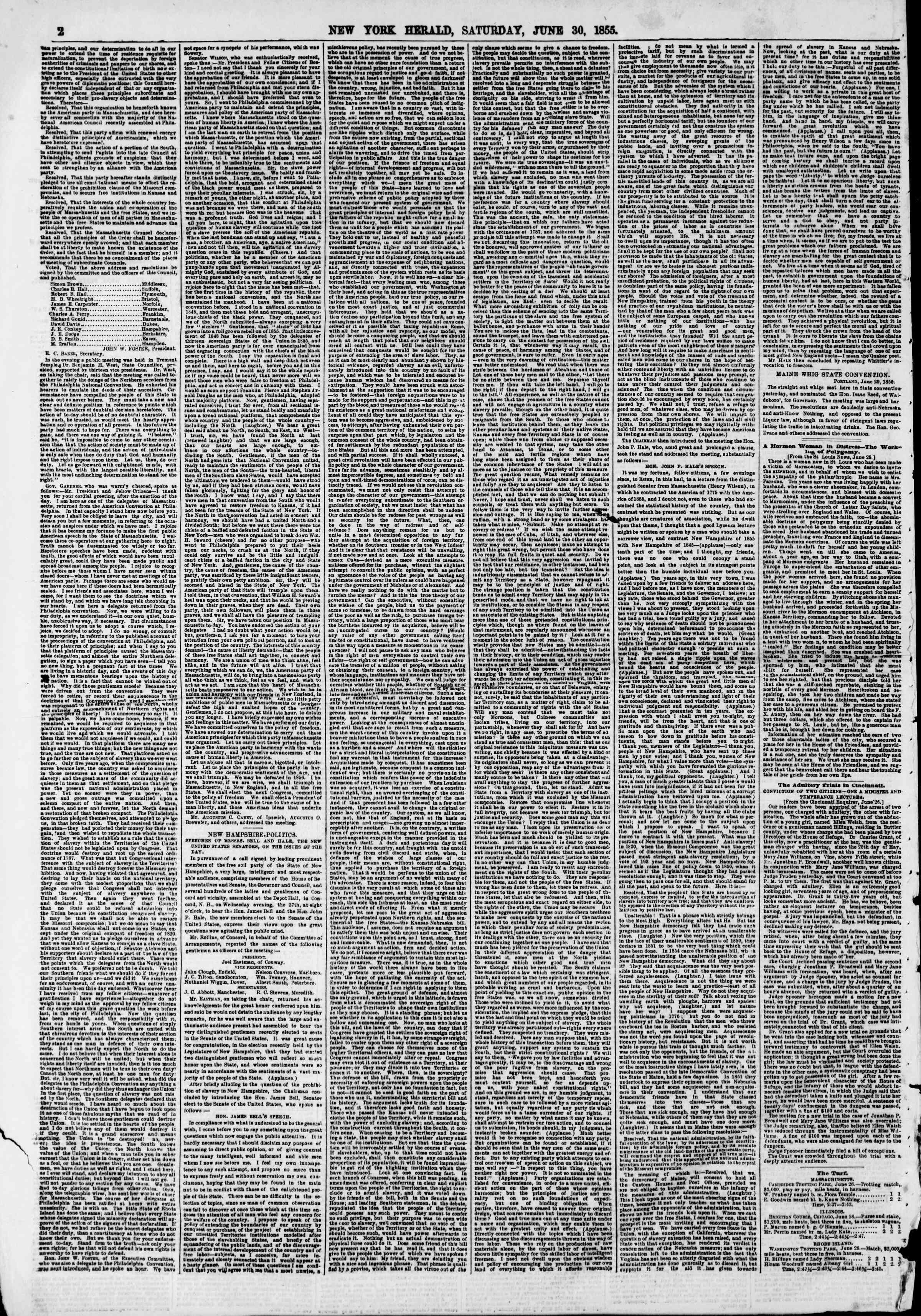 Newspaper of The New York Herald dated June 30, 1855 Page 2