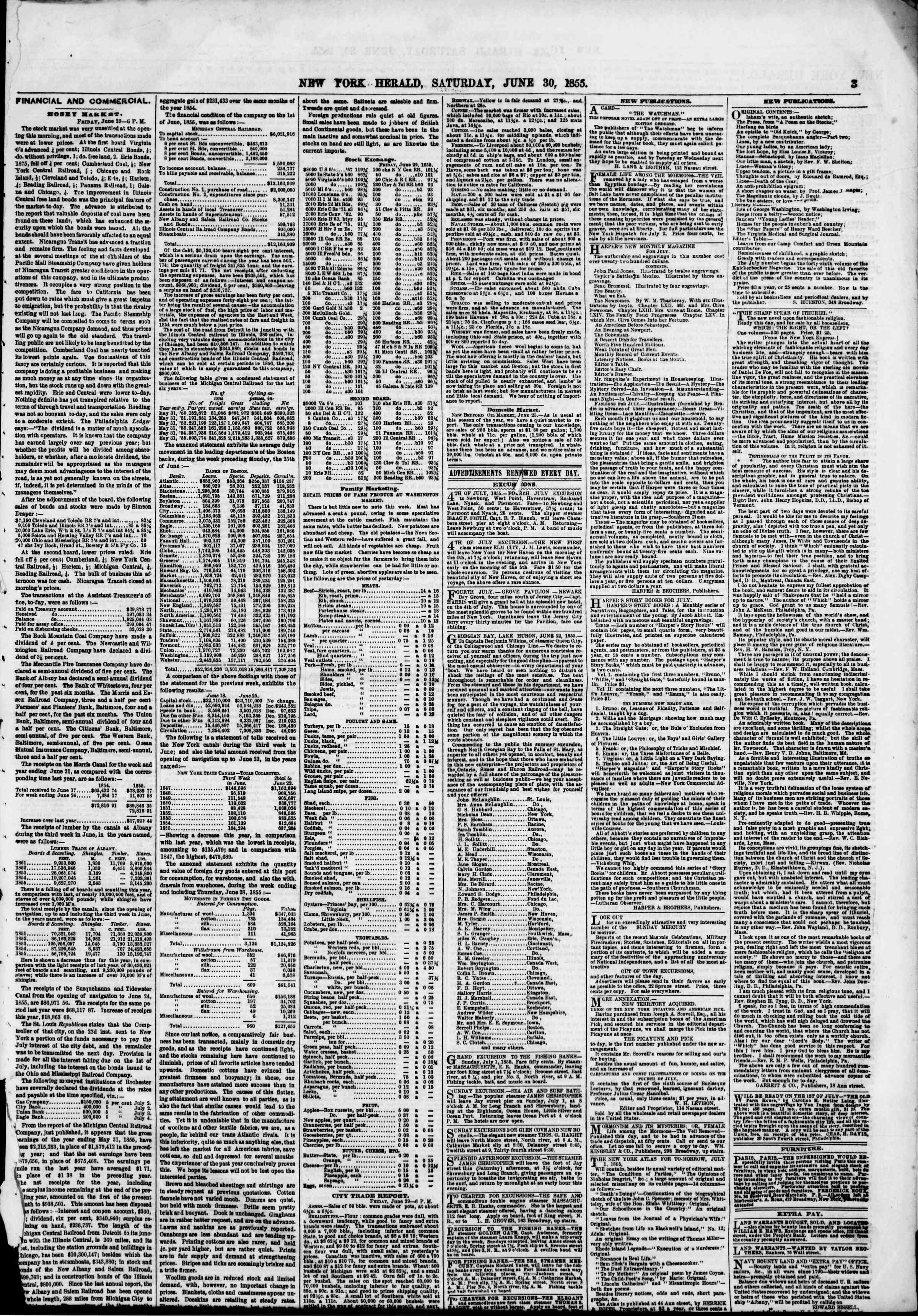 Newspaper of The New York Herald dated June 30, 1855 Page 3