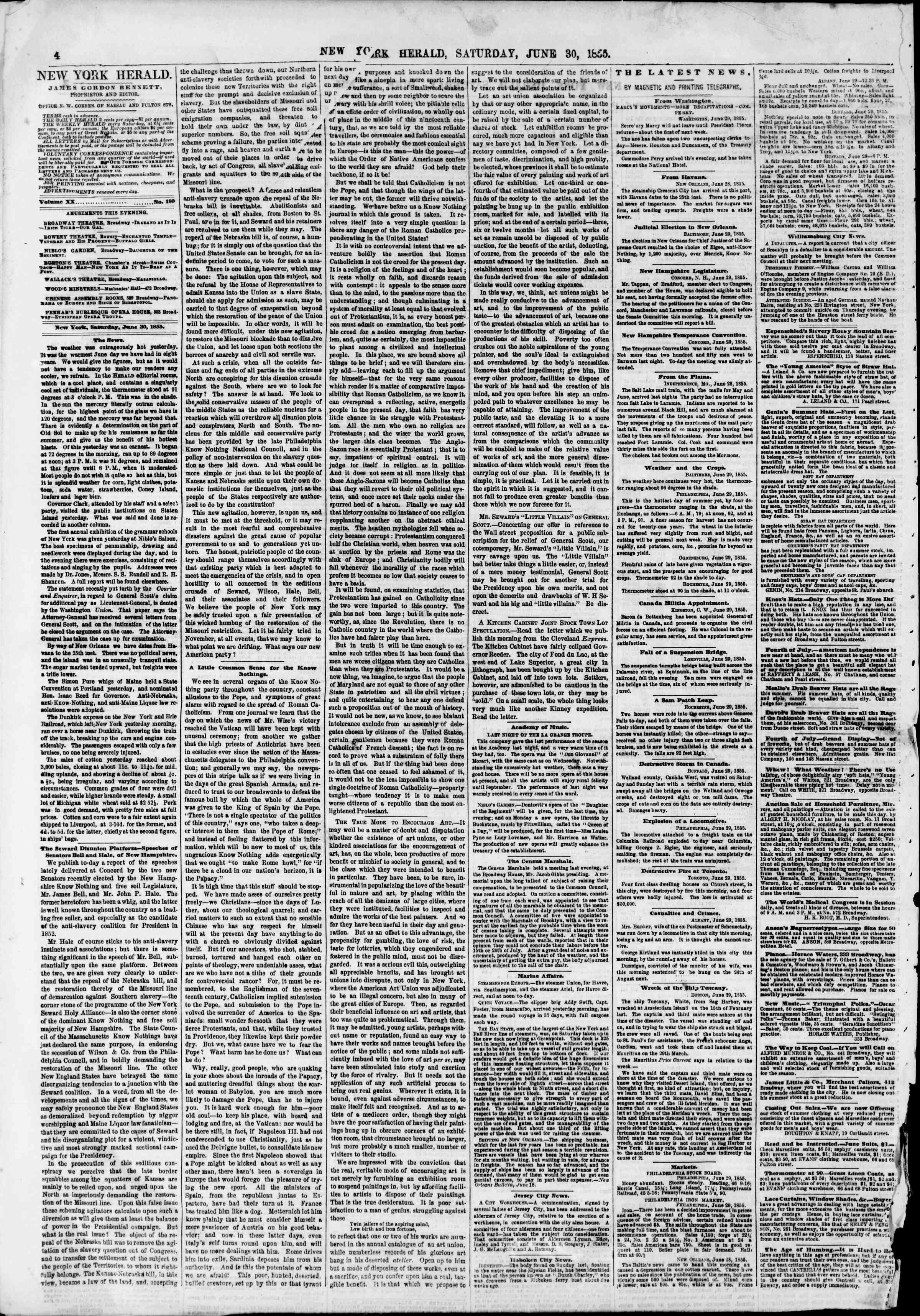 Newspaper of The New York Herald dated June 30, 1855 Page 4