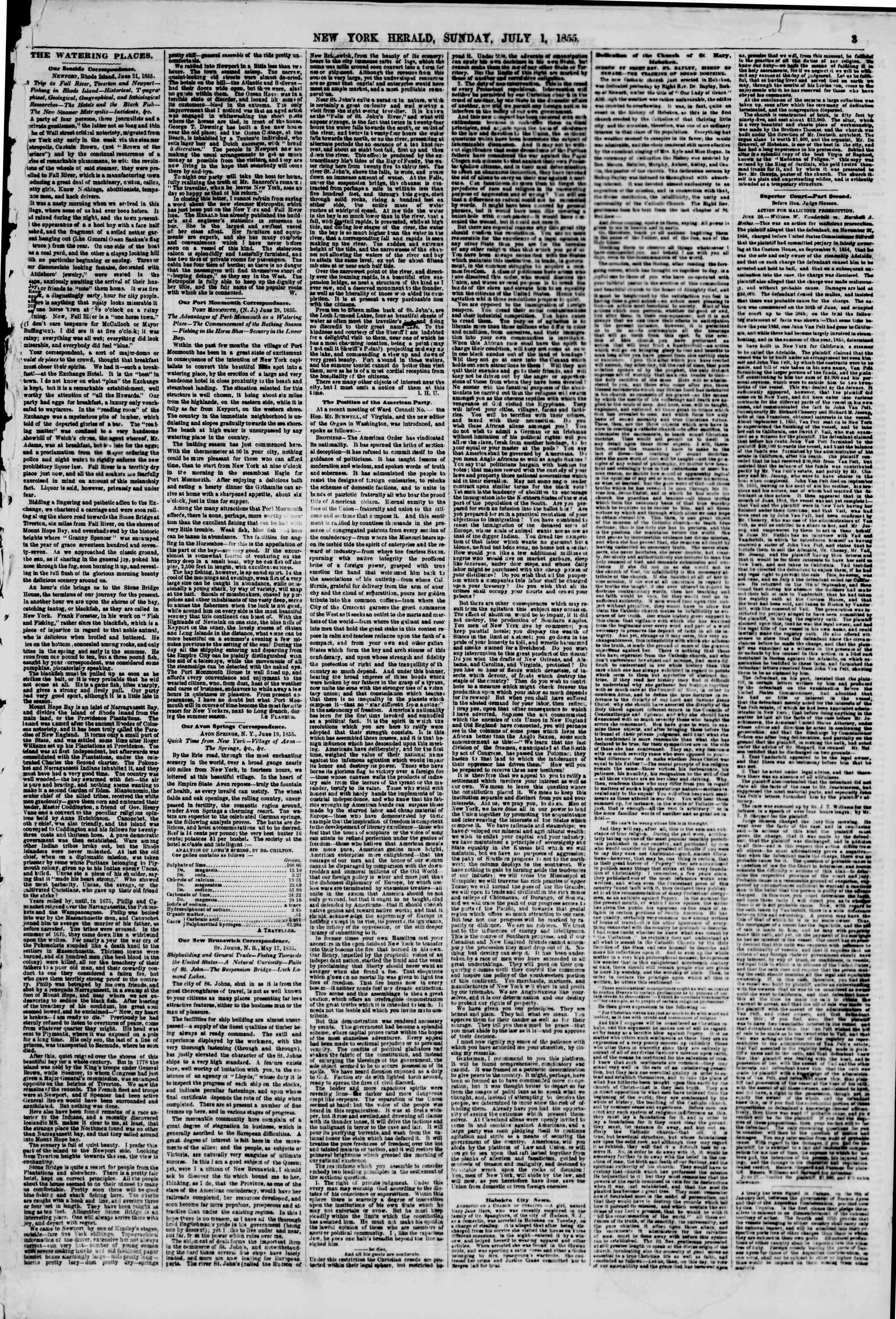 Newspaper of The New York Herald dated July 1, 1855 Page 3