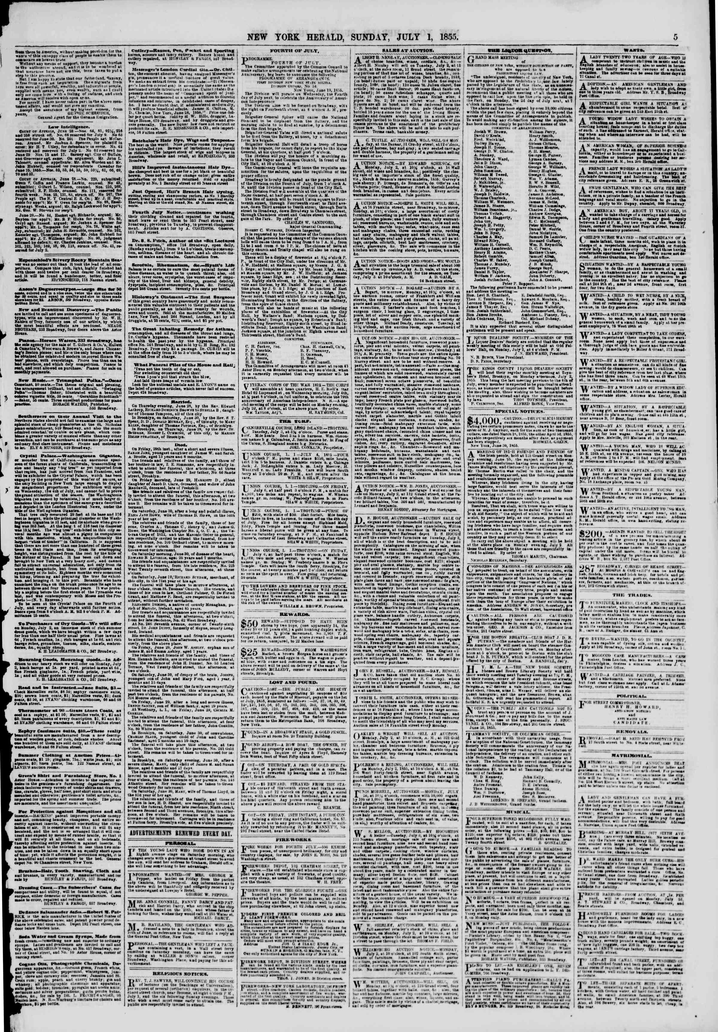 Newspaper of The New York Herald dated July 1, 1855 Page 5