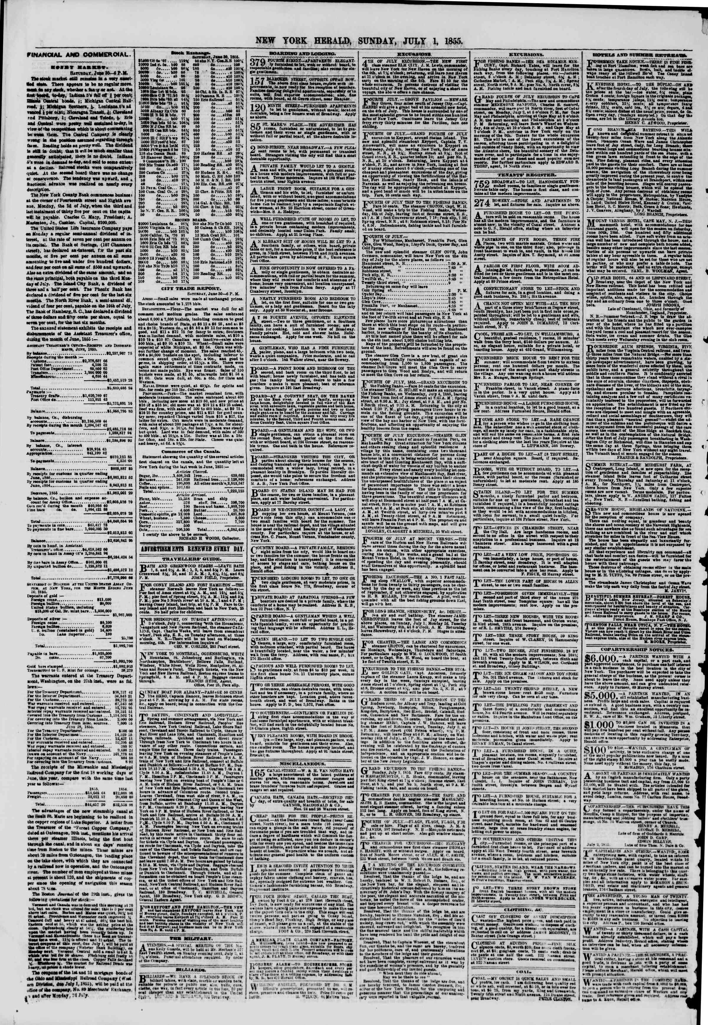 Newspaper of The New York Herald dated July 1, 1855 Page 6