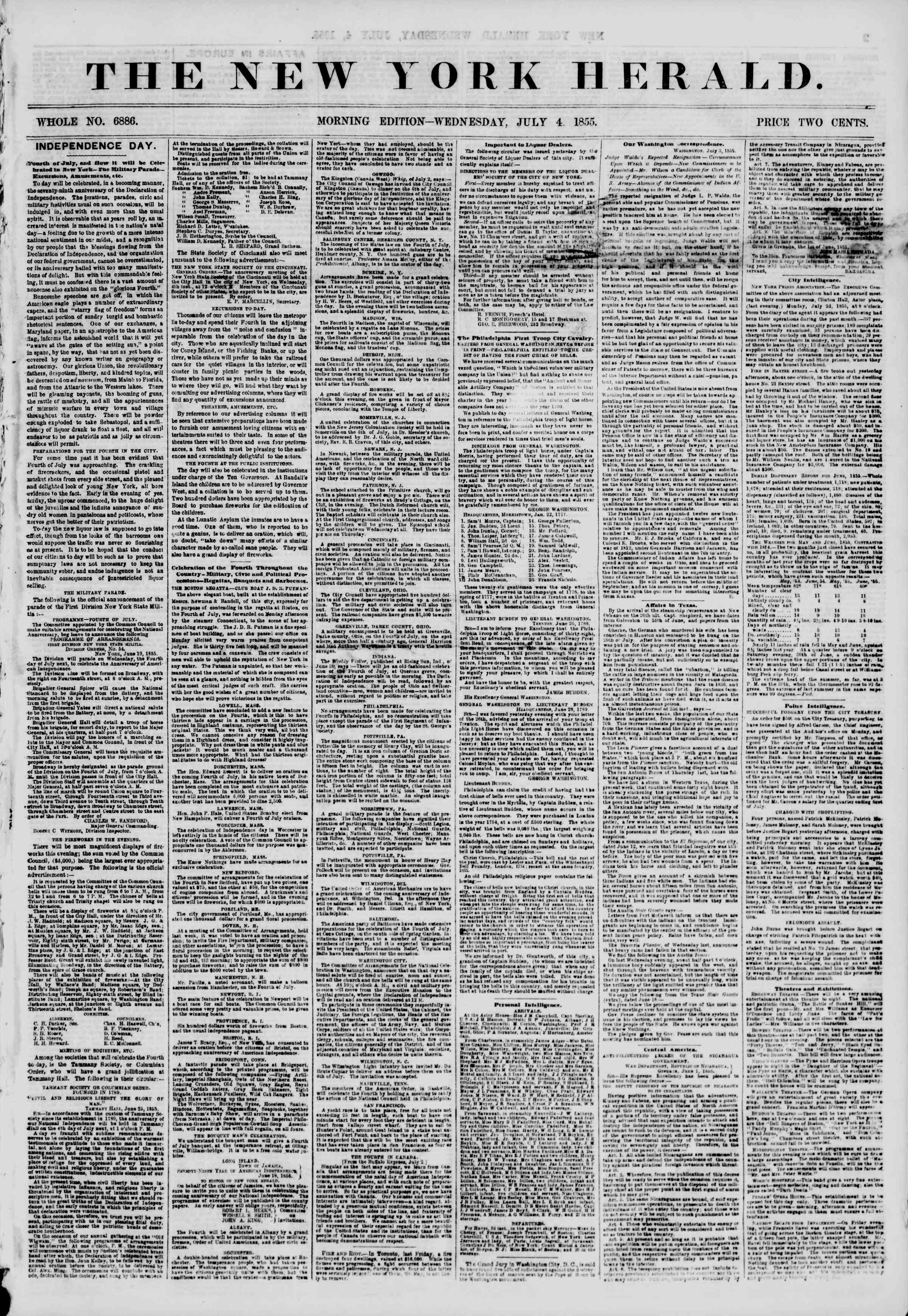 Newspaper of The New York Herald dated July 4, 1855 Page 1