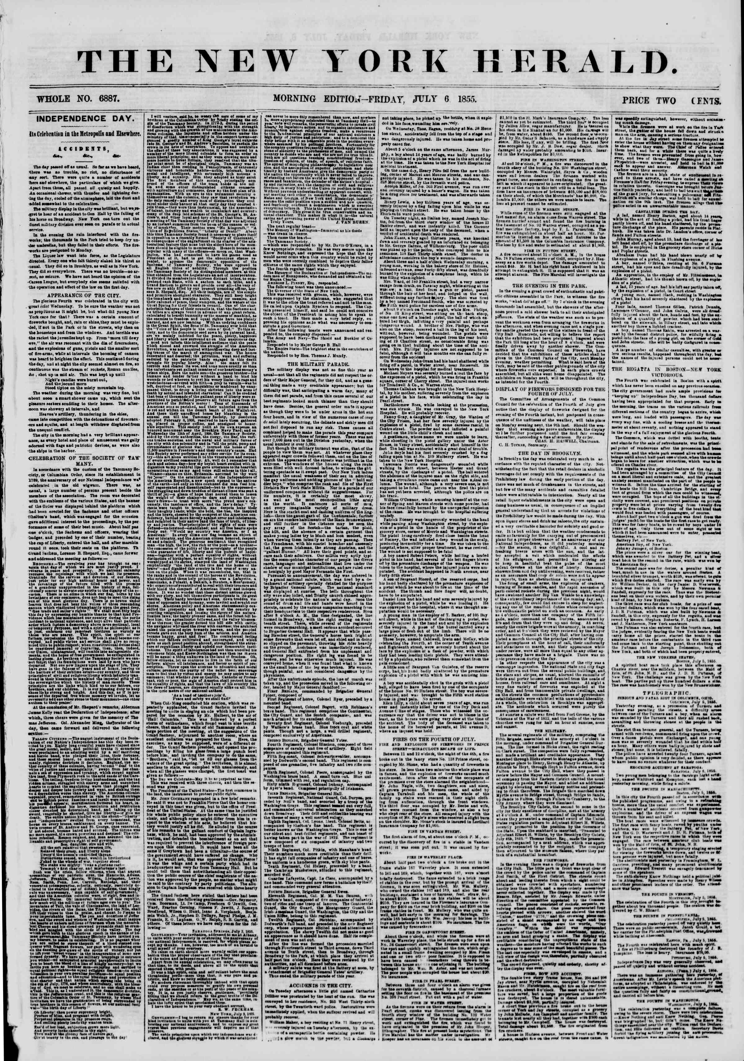 Newspaper of The New York Herald dated July 6, 1855 Page 1