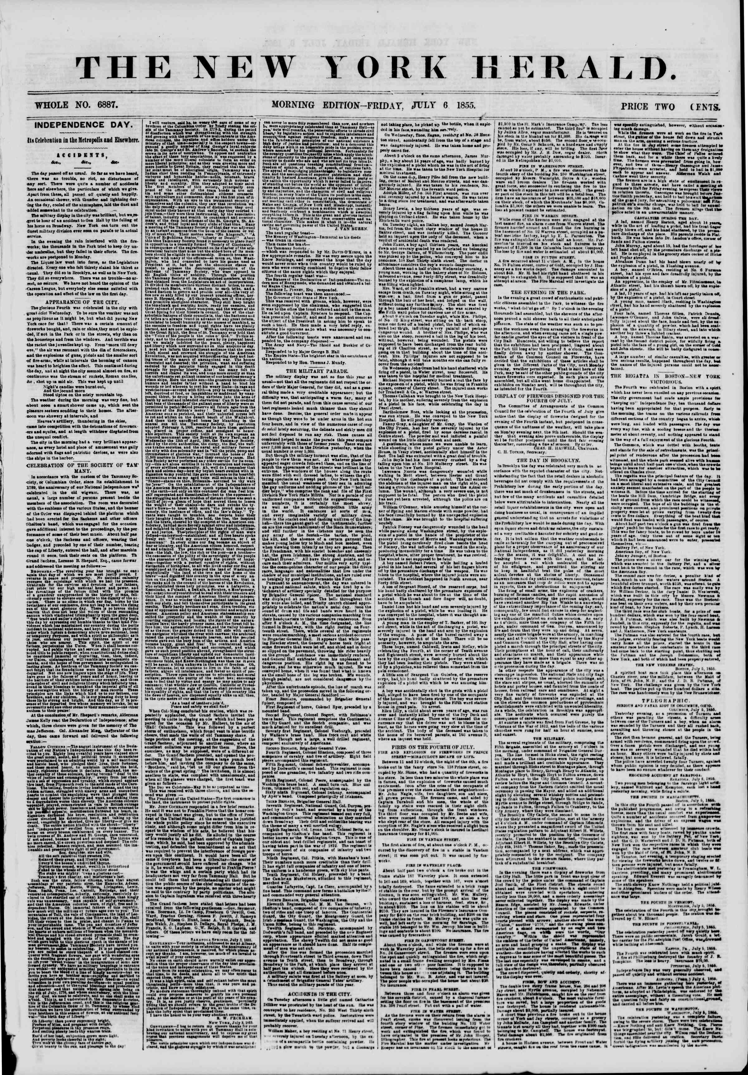 Newspaper of The New York Herald dated July 6, 1855 Page 2