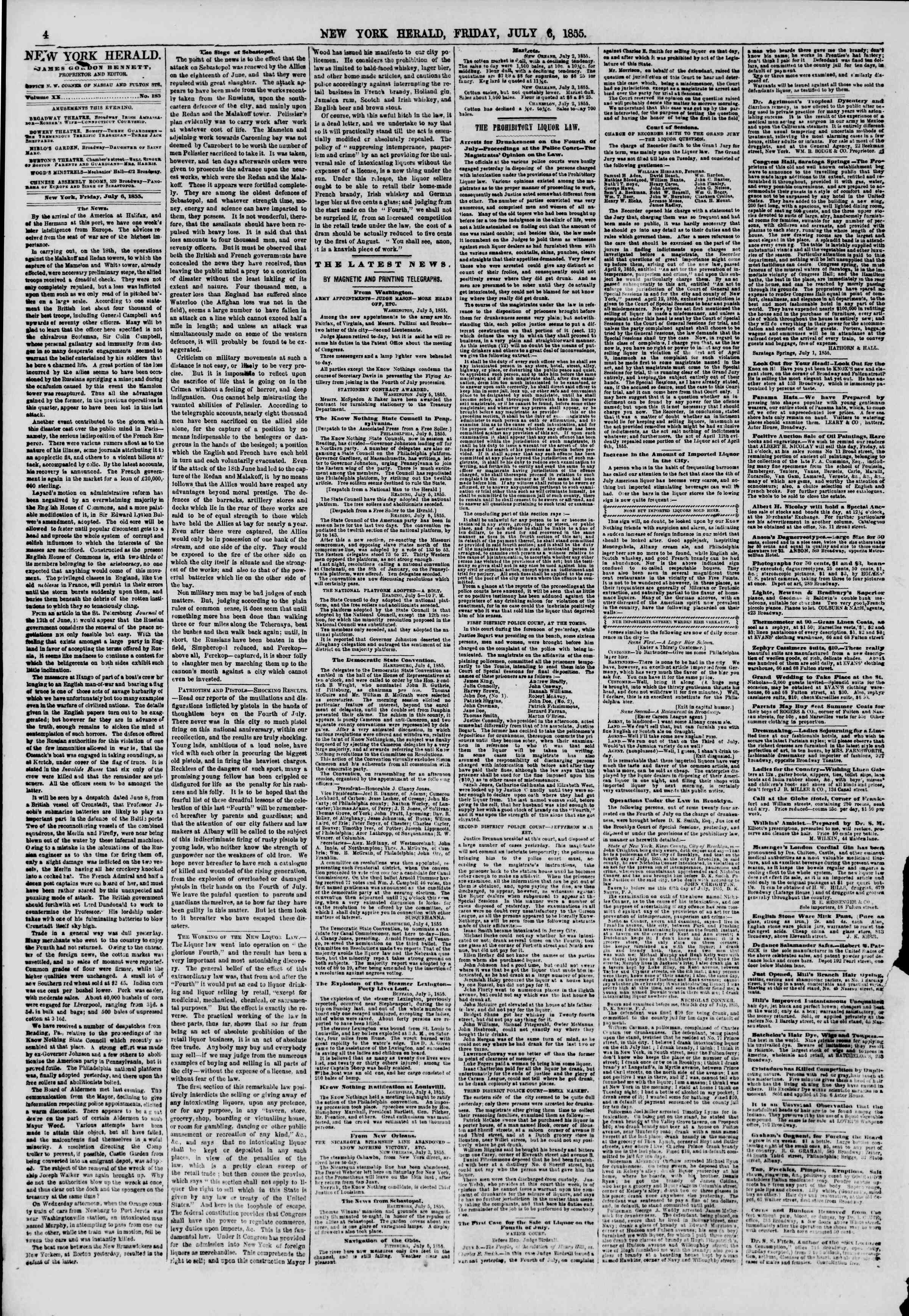 Newspaper of The New York Herald dated July 6, 1855 Page 5