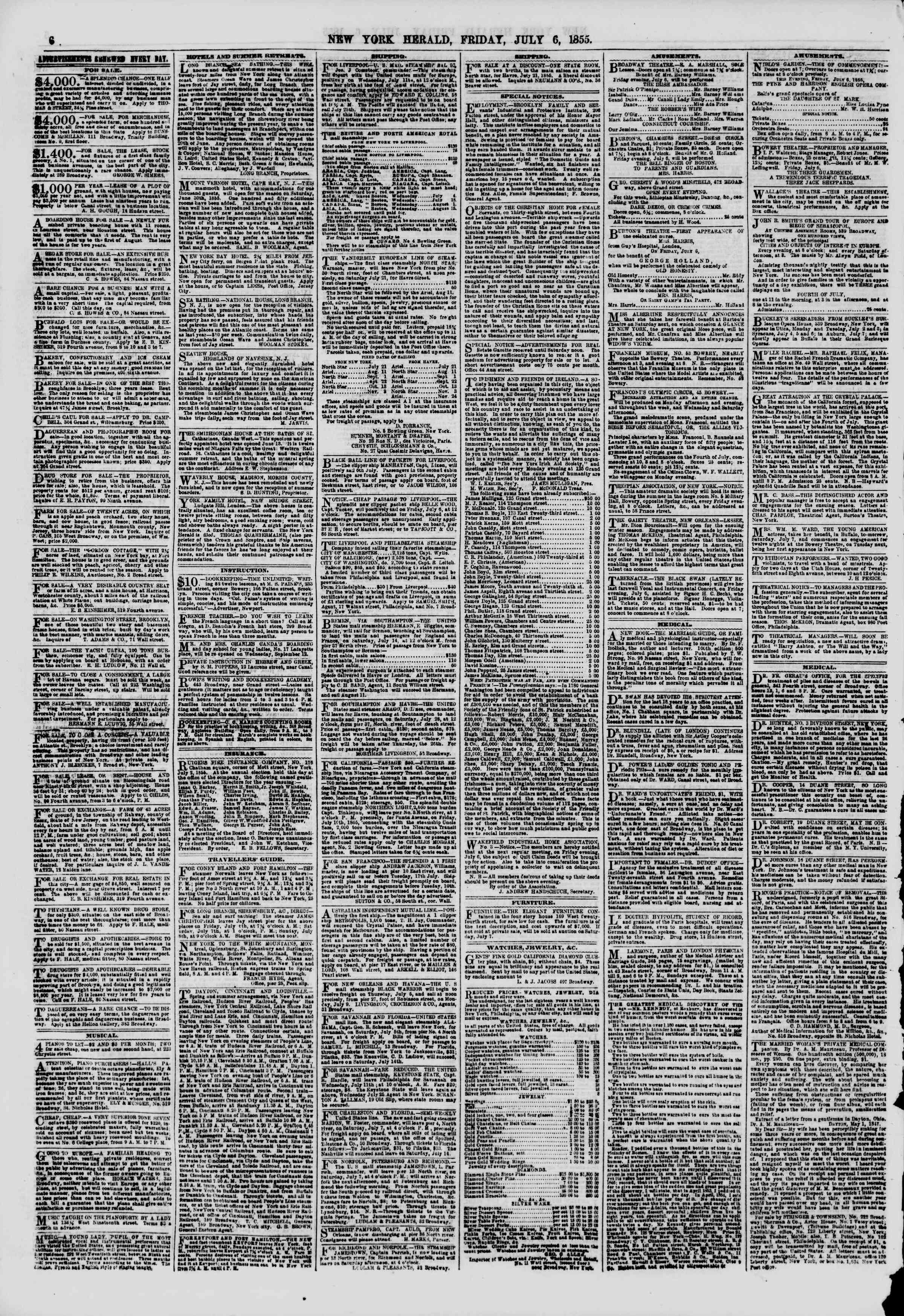 Newspaper of The New York Herald dated July 6, 1855 Page 7