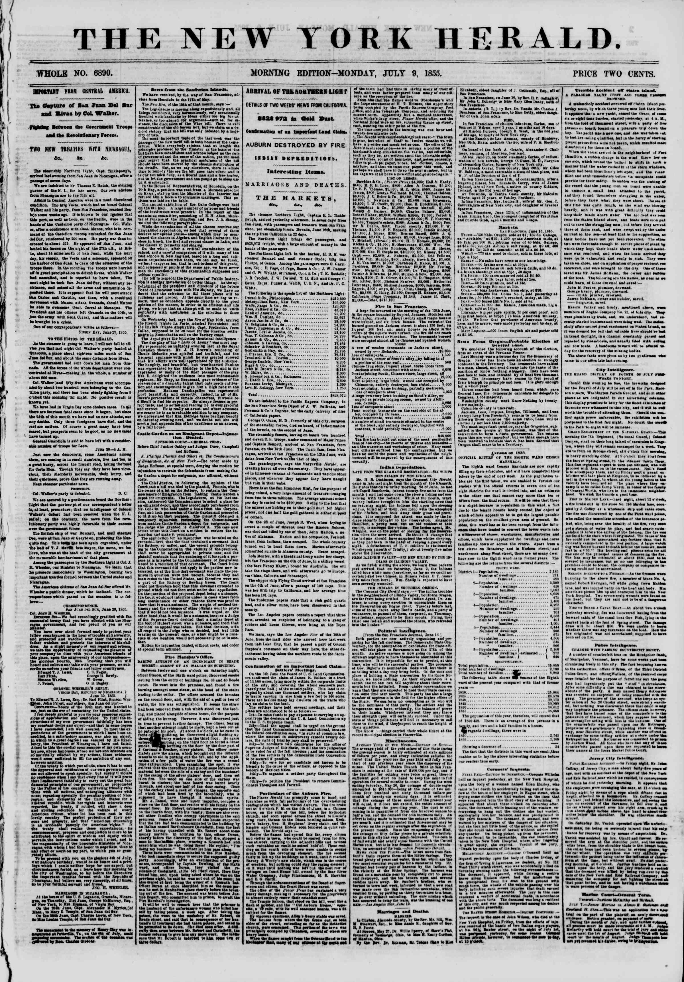 Newspaper of The New York Herald dated July 9, 1855 Page 1