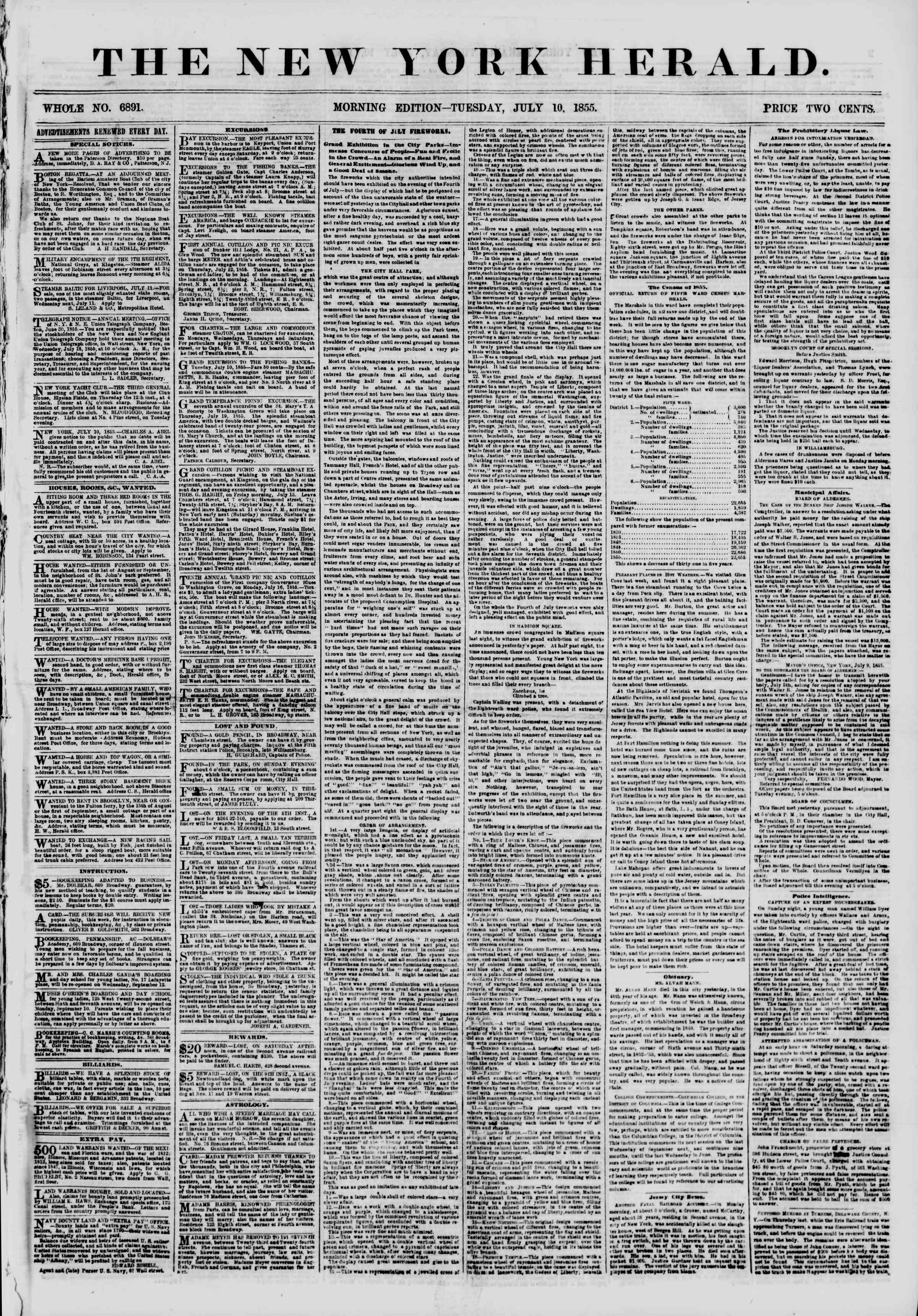 Newspaper of The New York Herald dated July 10, 1855 Page 1
