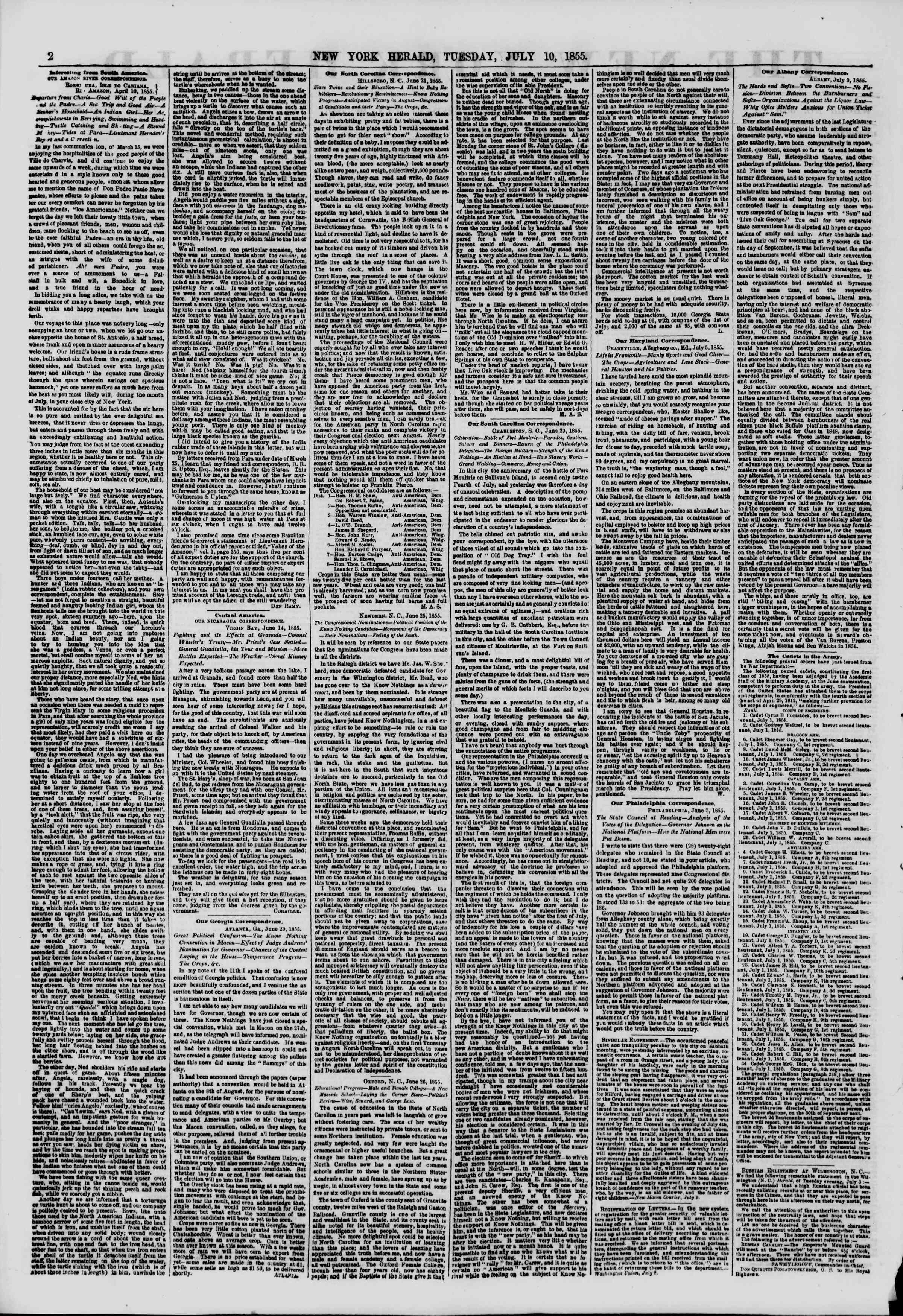 Newspaper of The New York Herald dated July 10, 1855 Page 2