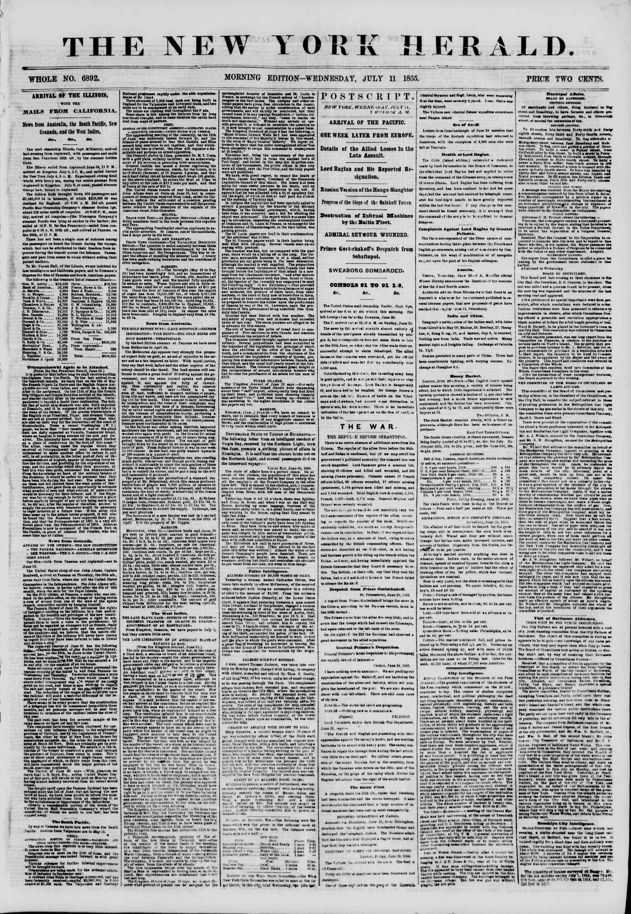 Newspaper of The New York Herald dated July 11, 1855 Page 1