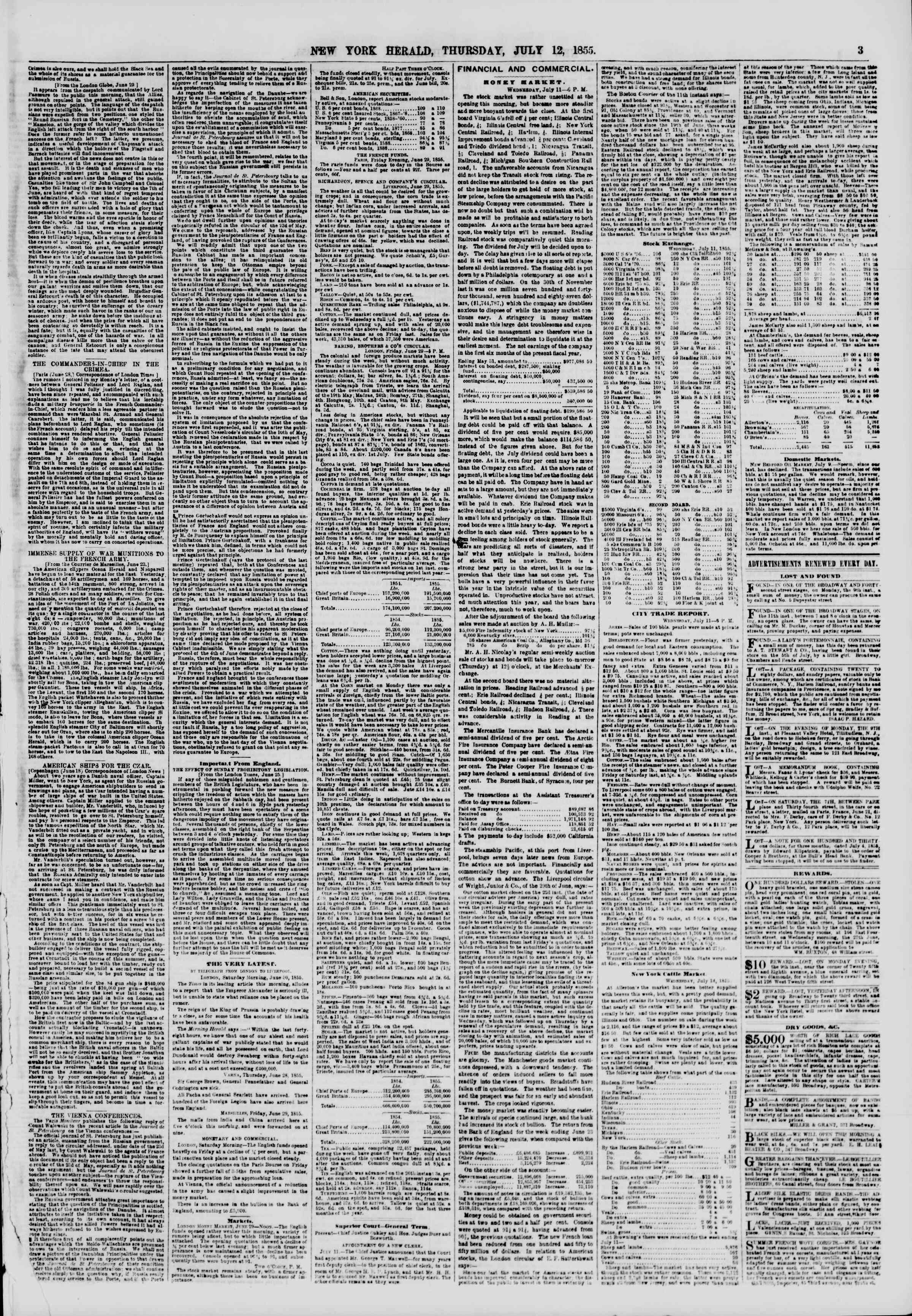 Newspaper of The New York Herald dated July 12, 1855 Page 3