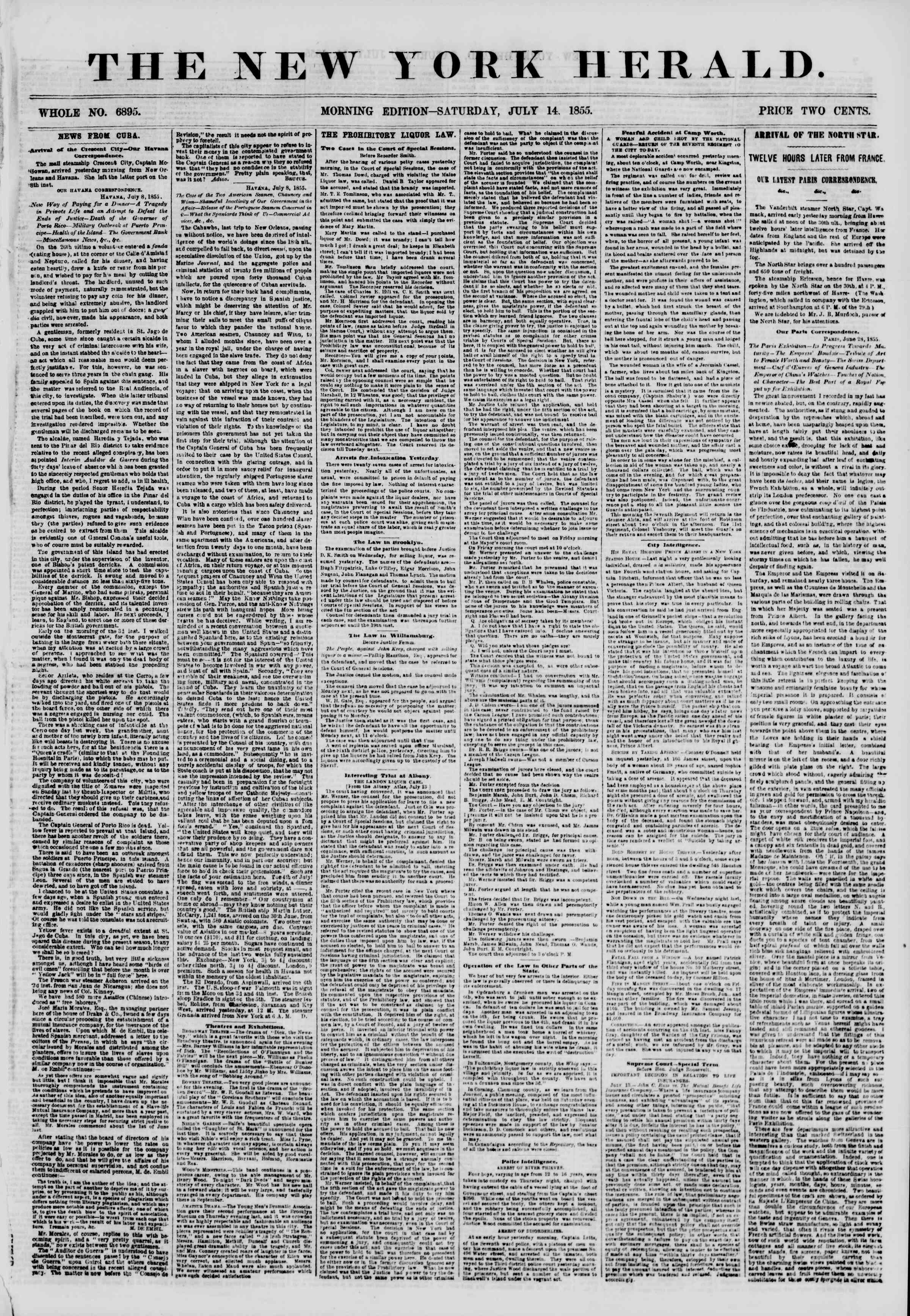 Newspaper of The New York Herald dated July 14, 1855 Page 1