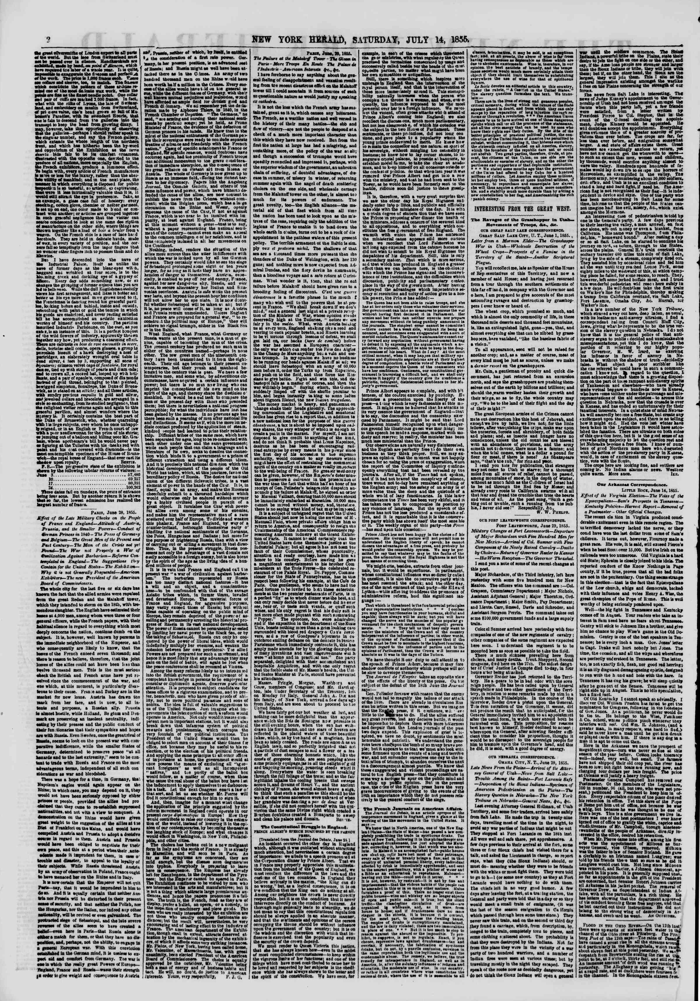 Newspaper of The New York Herald dated July 14, 1855 Page 2