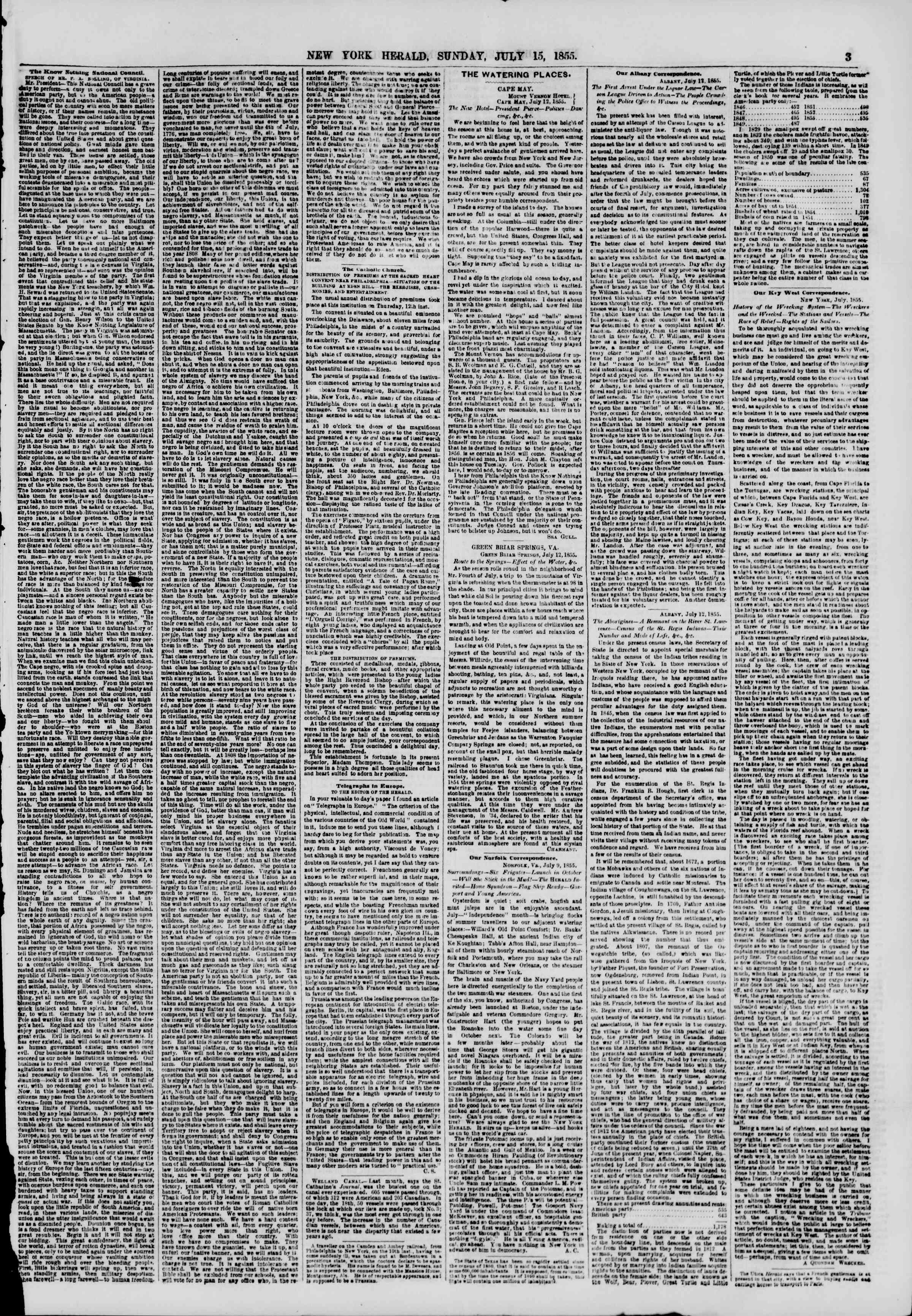Newspaper of The New York Herald dated July 15, 1855 Page 3