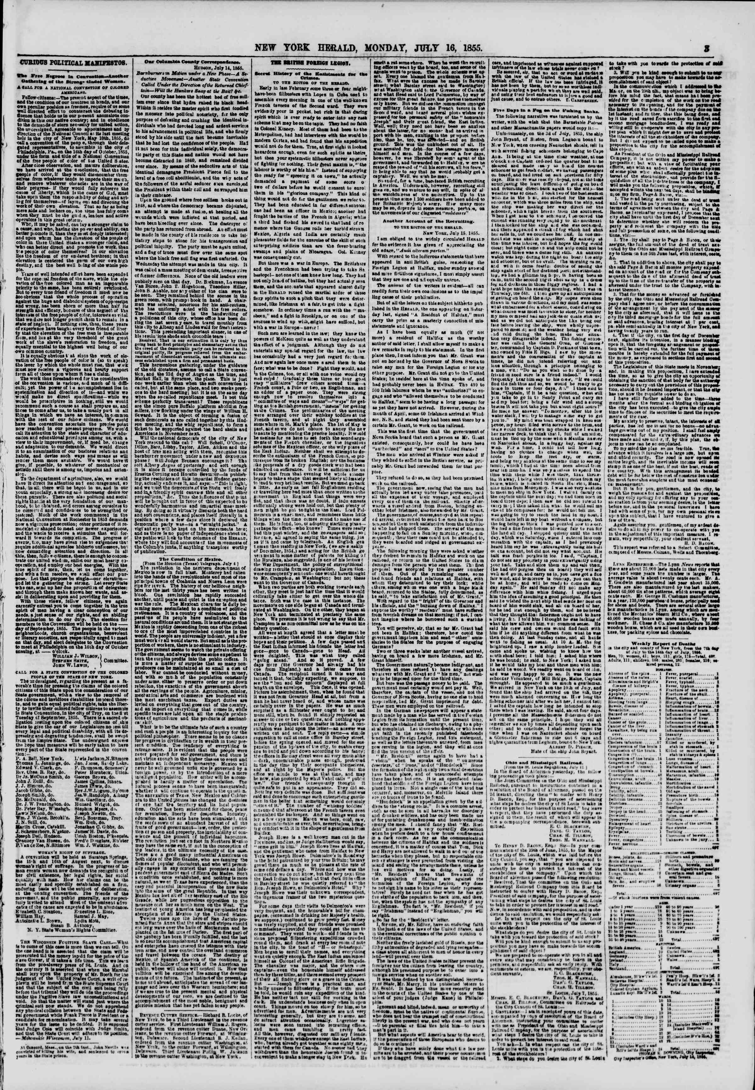Newspaper of The New York Herald dated July 16, 1855 Page 3