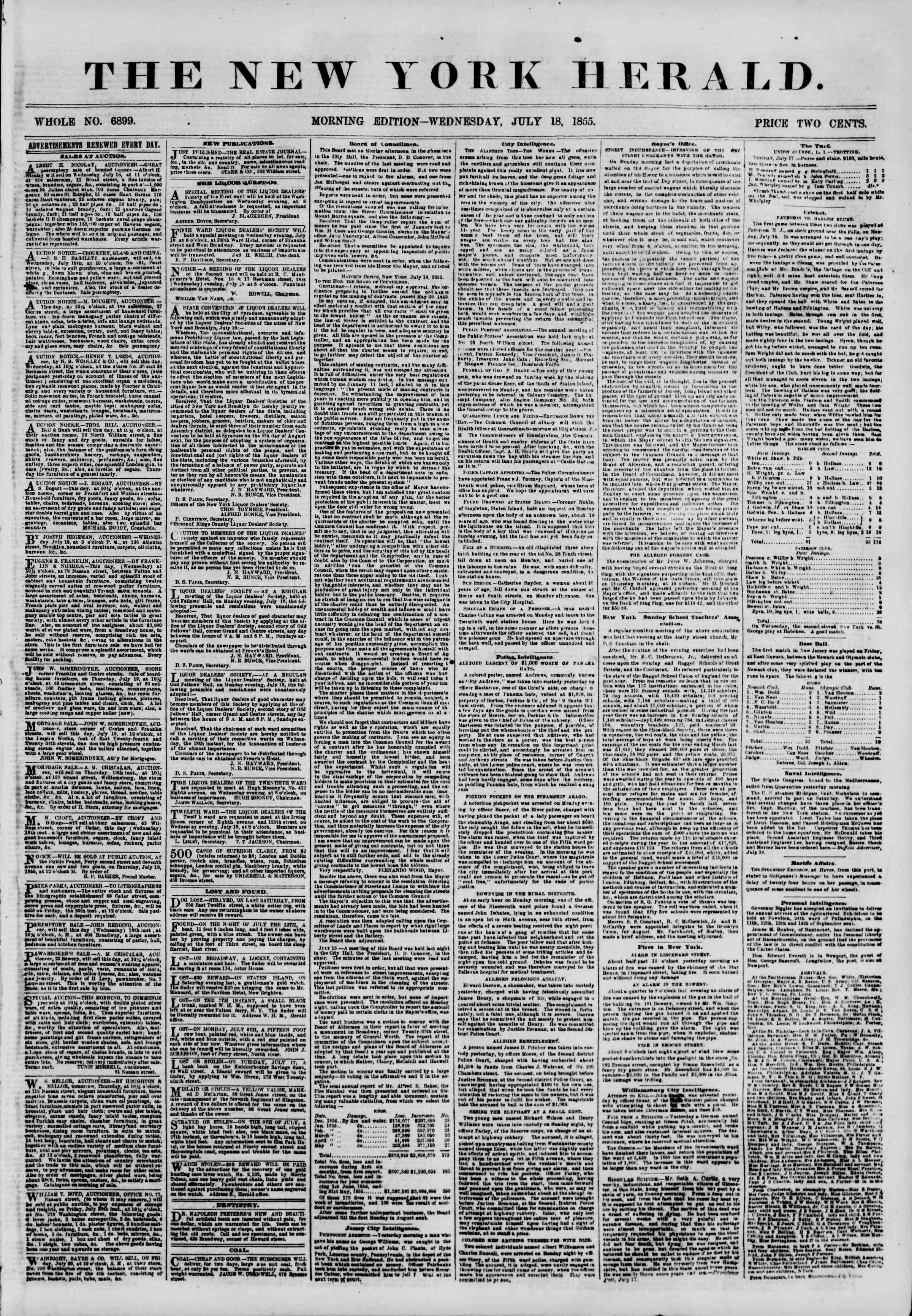 Newspaper of The New York Herald dated July 18, 1855 Page 1