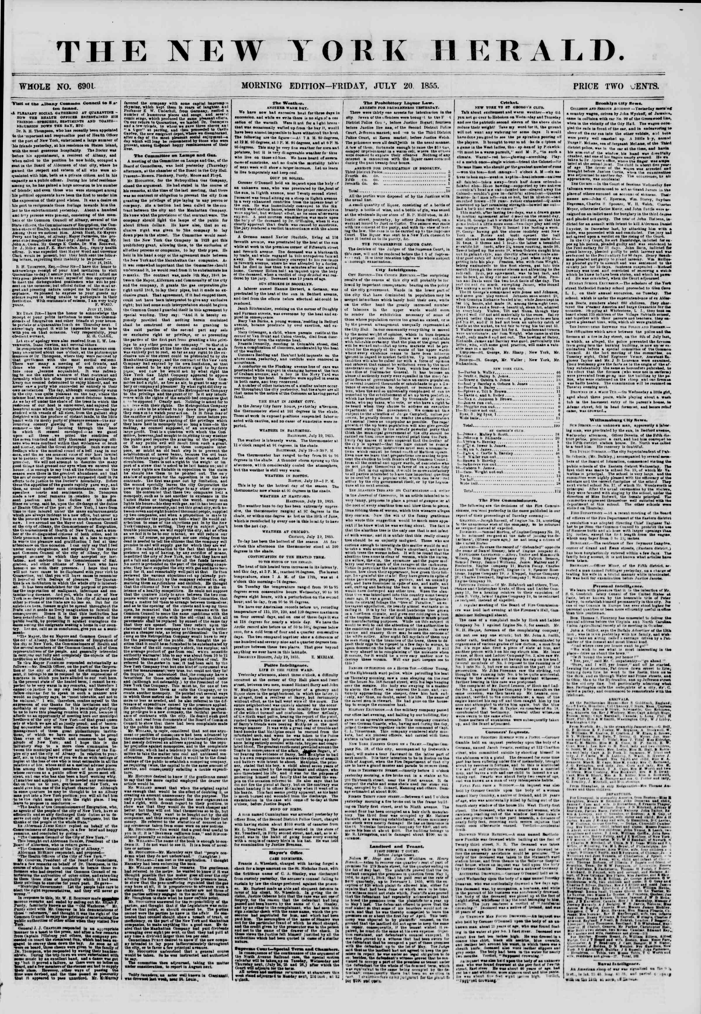 Newspaper of The New York Herald dated July 20, 1855 Page 1
