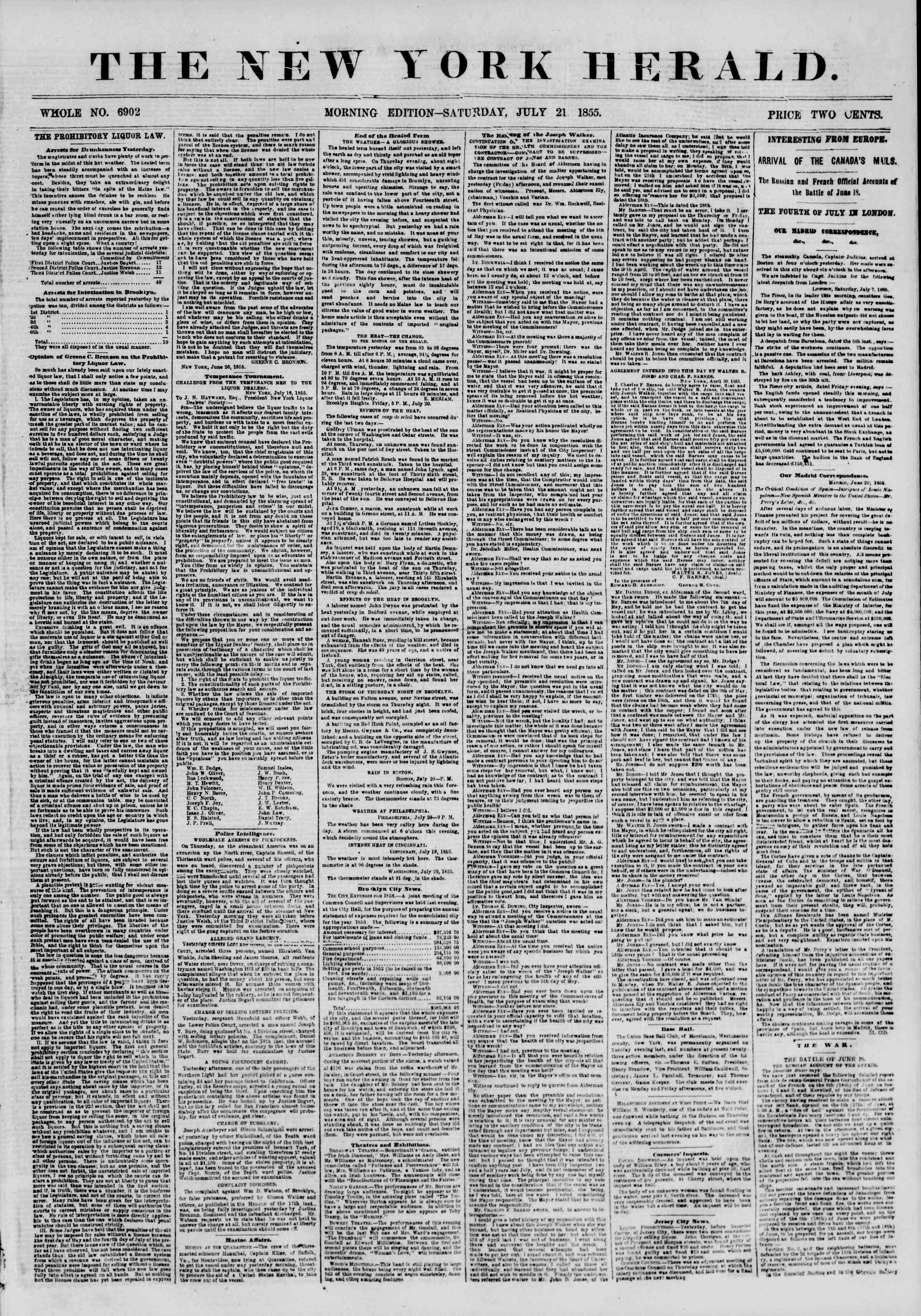 Newspaper of The New York Herald dated July 21, 1855 Page 1