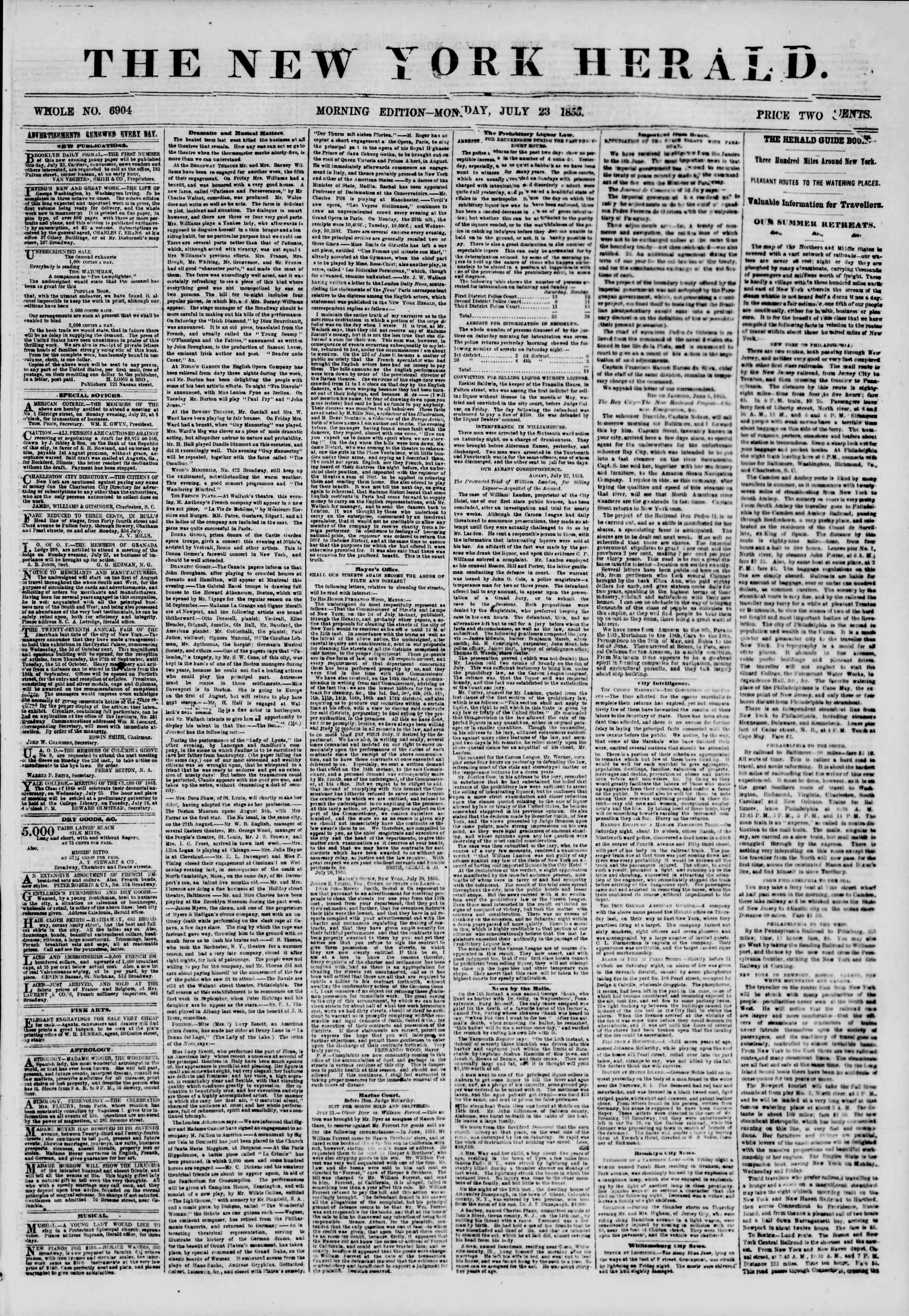 Newspaper of The New York Herald dated July 23, 1855 Page 1