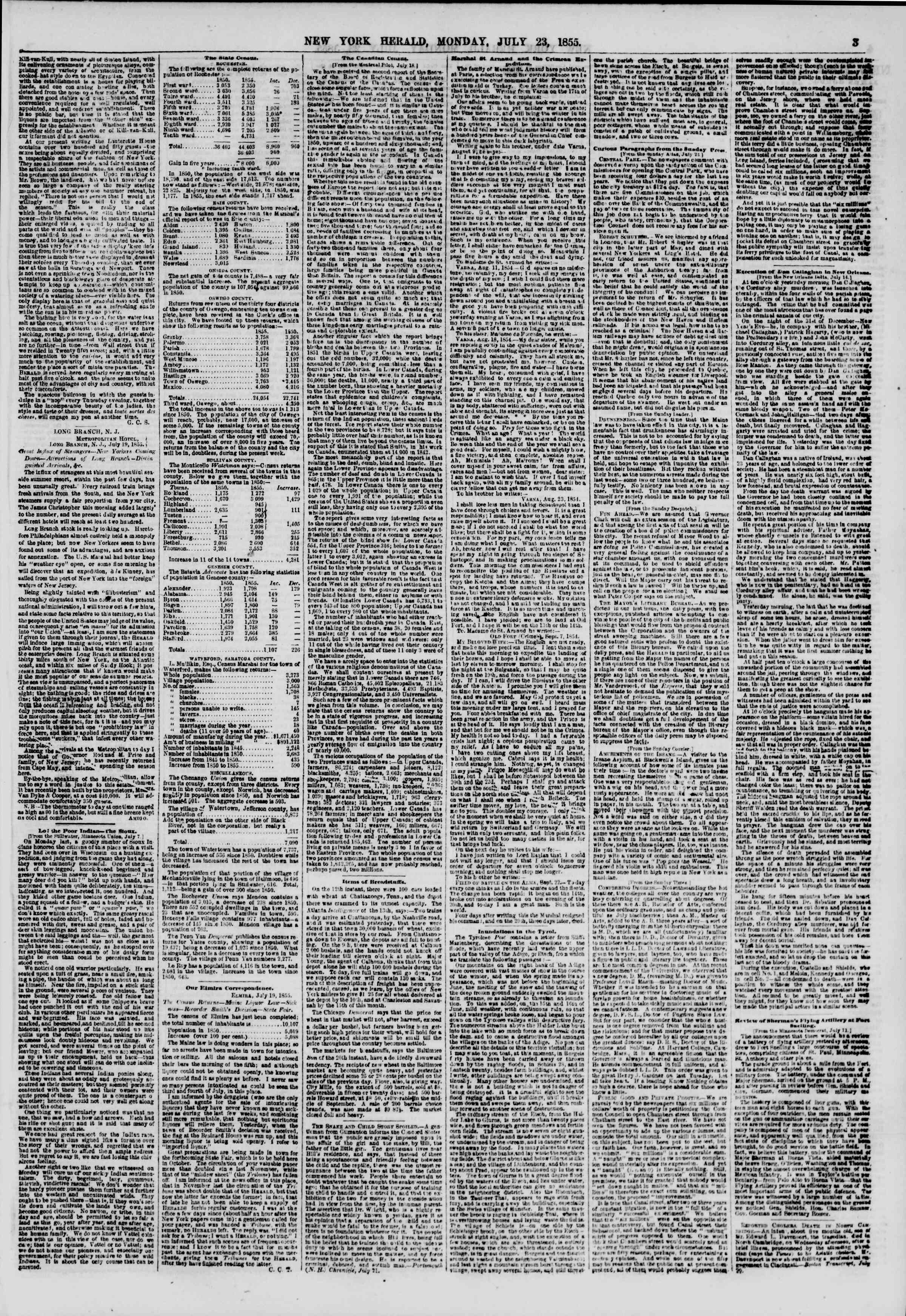 Newspaper of The New York Herald dated July 23, 1855 Page 3