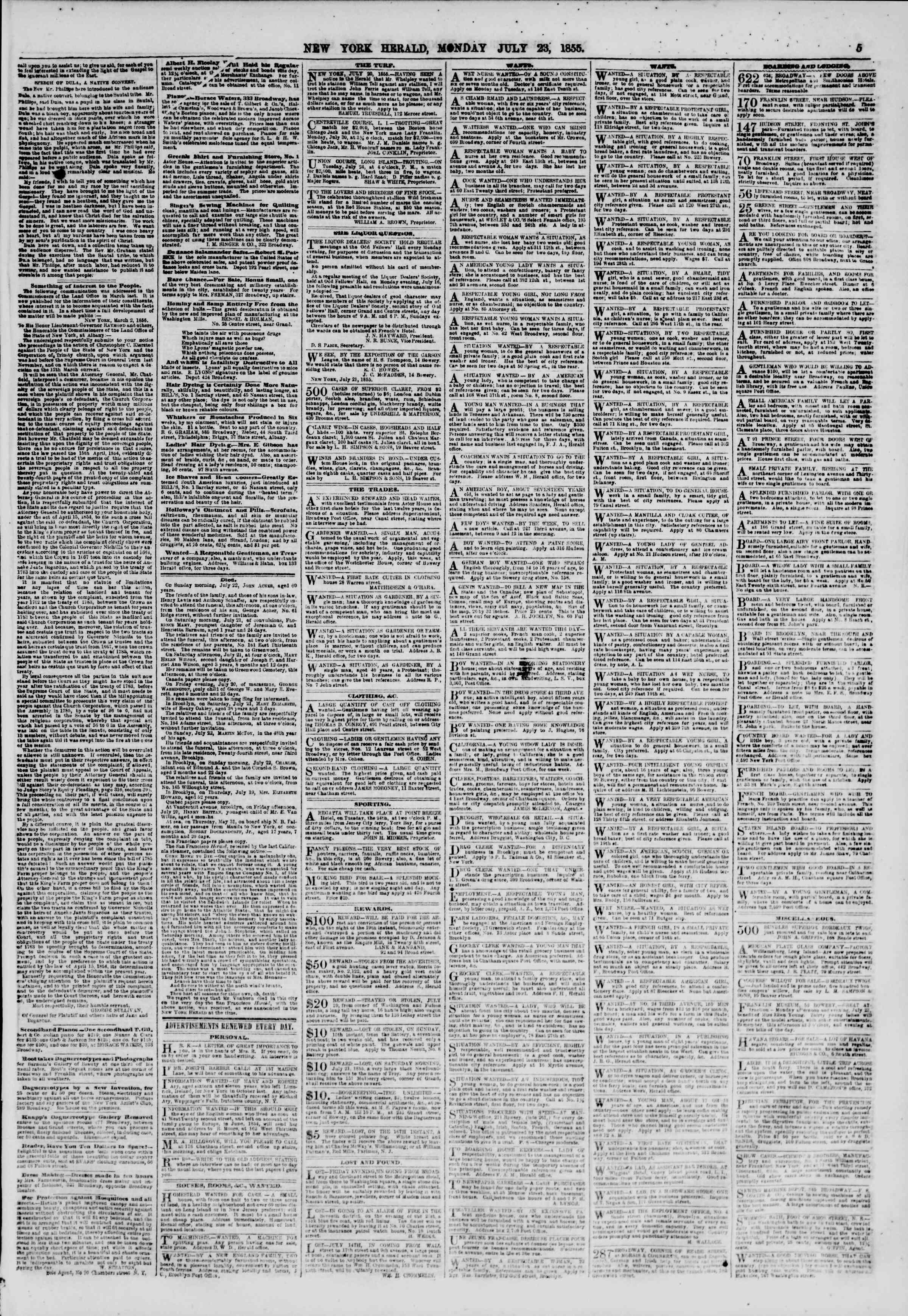 Newspaper of The New York Herald dated July 23, 1855 Page 5