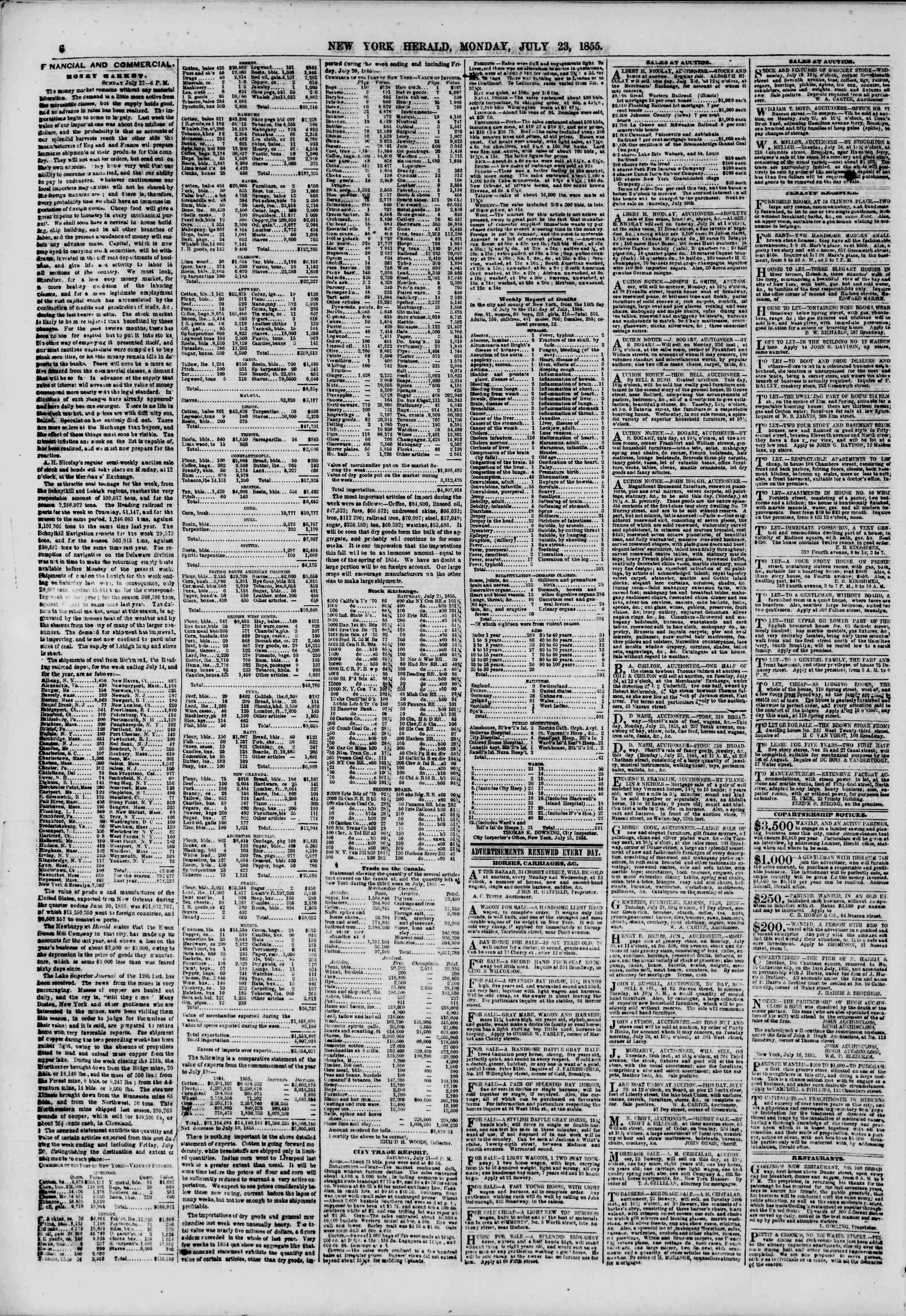 Newspaper of The New York Herald dated July 23, 1855 Page 6