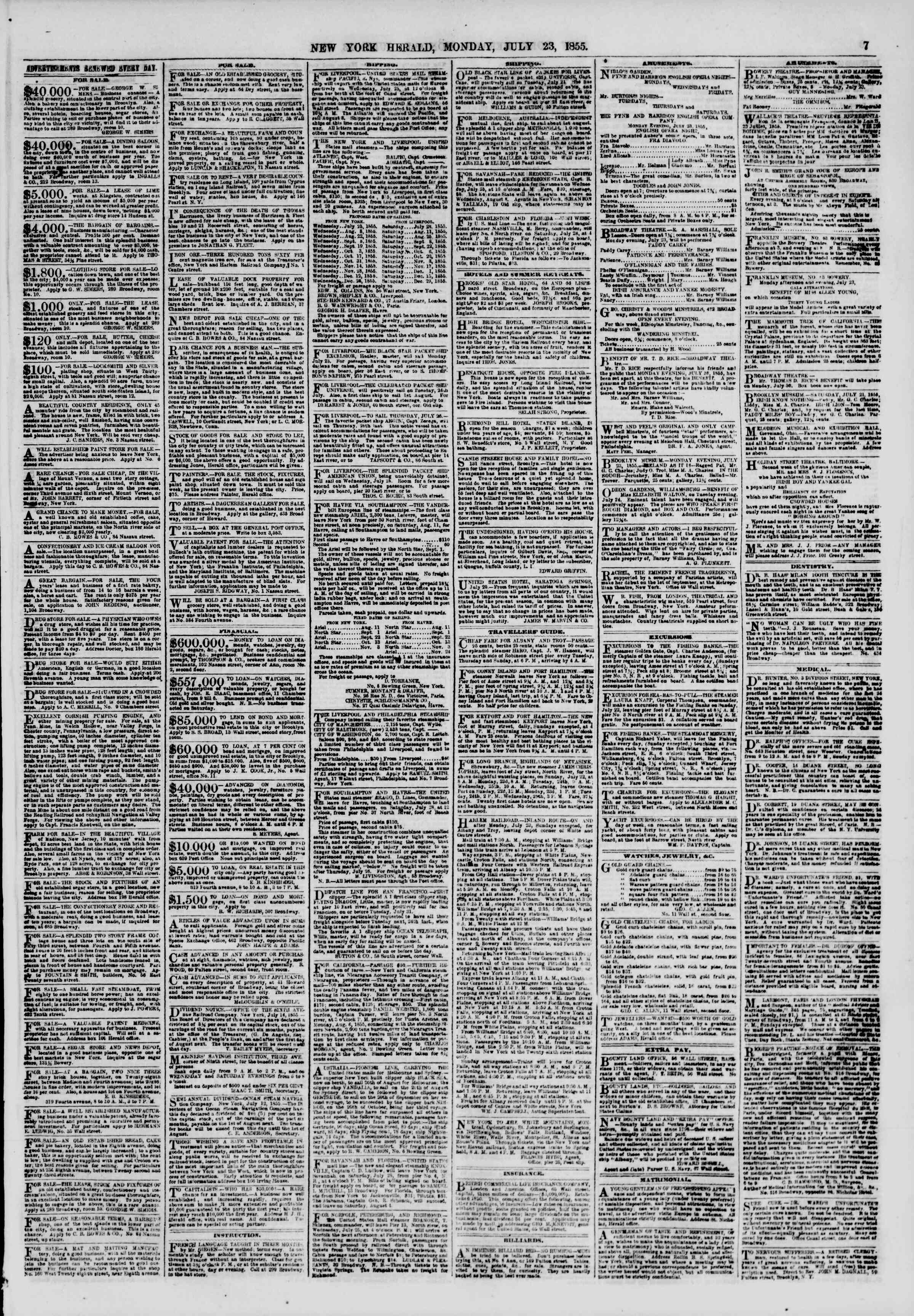 Newspaper of The New York Herald dated July 23, 1855 Page 7