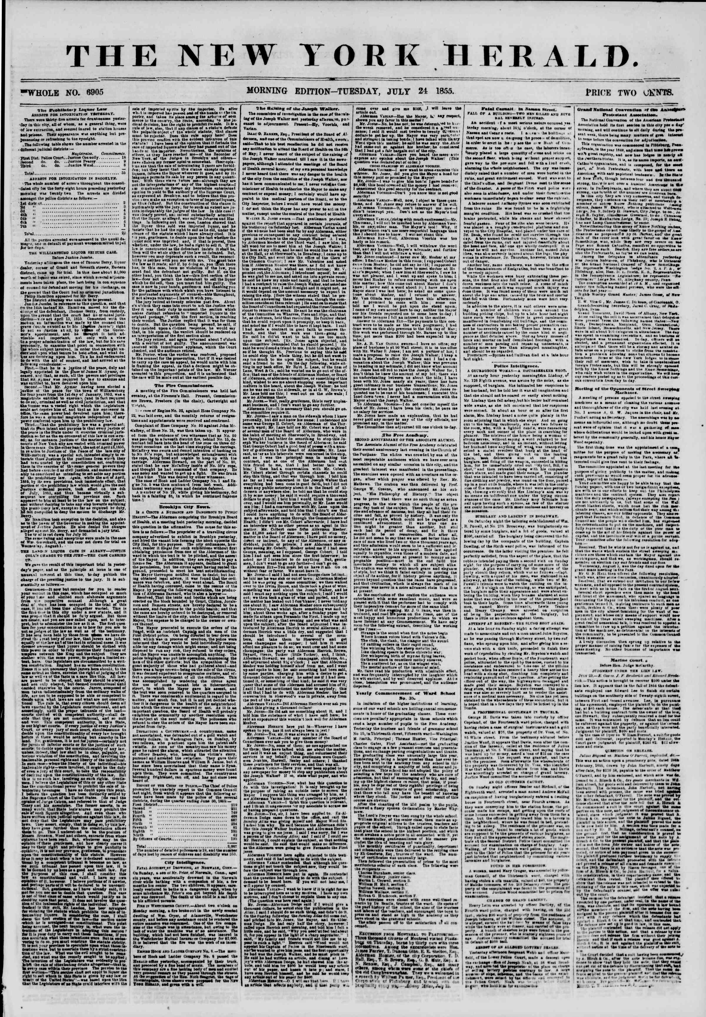 Newspaper of The New York Herald dated July 24, 1855 Page 1