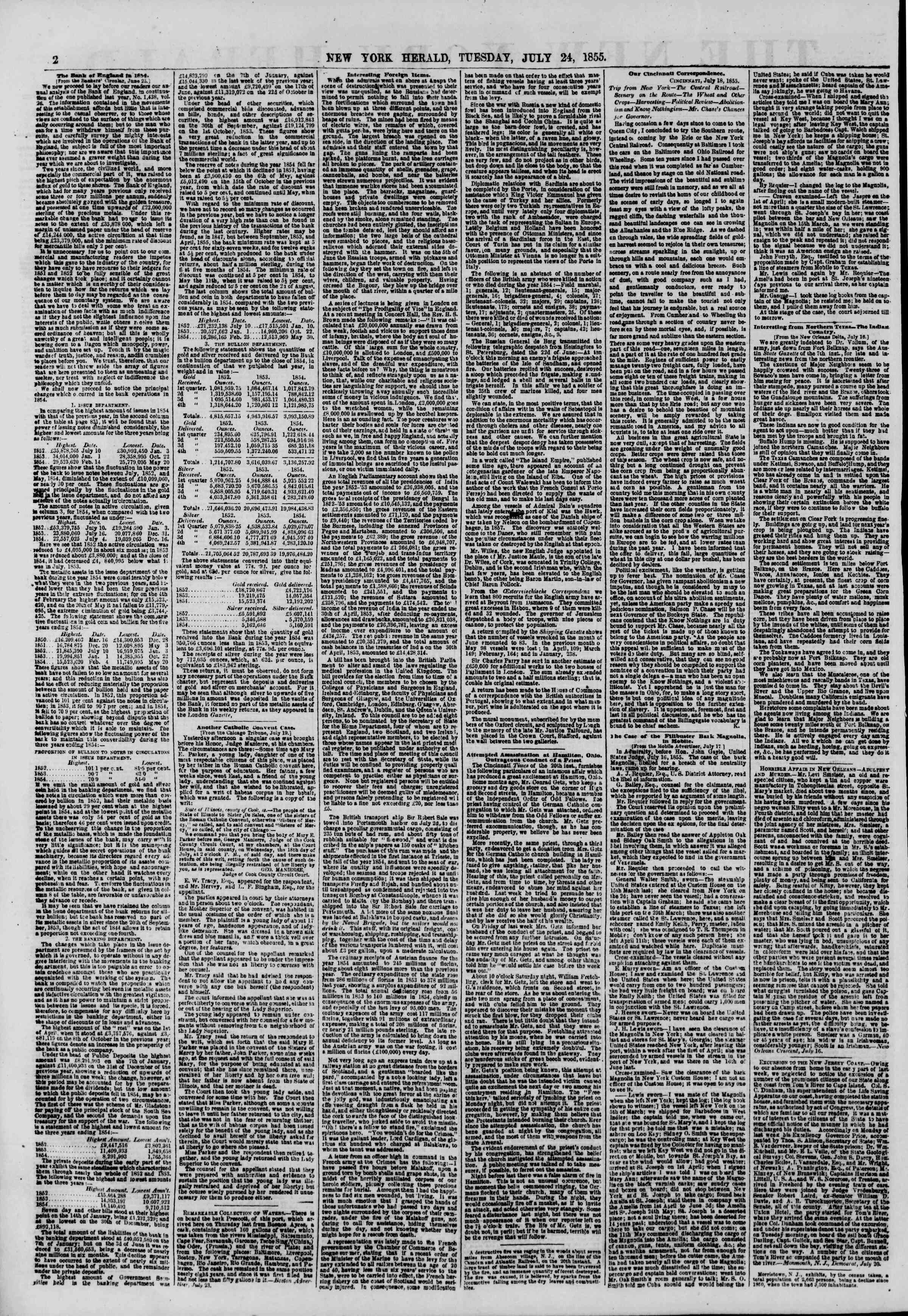 Newspaper of The New York Herald dated July 24, 1855 Page 2