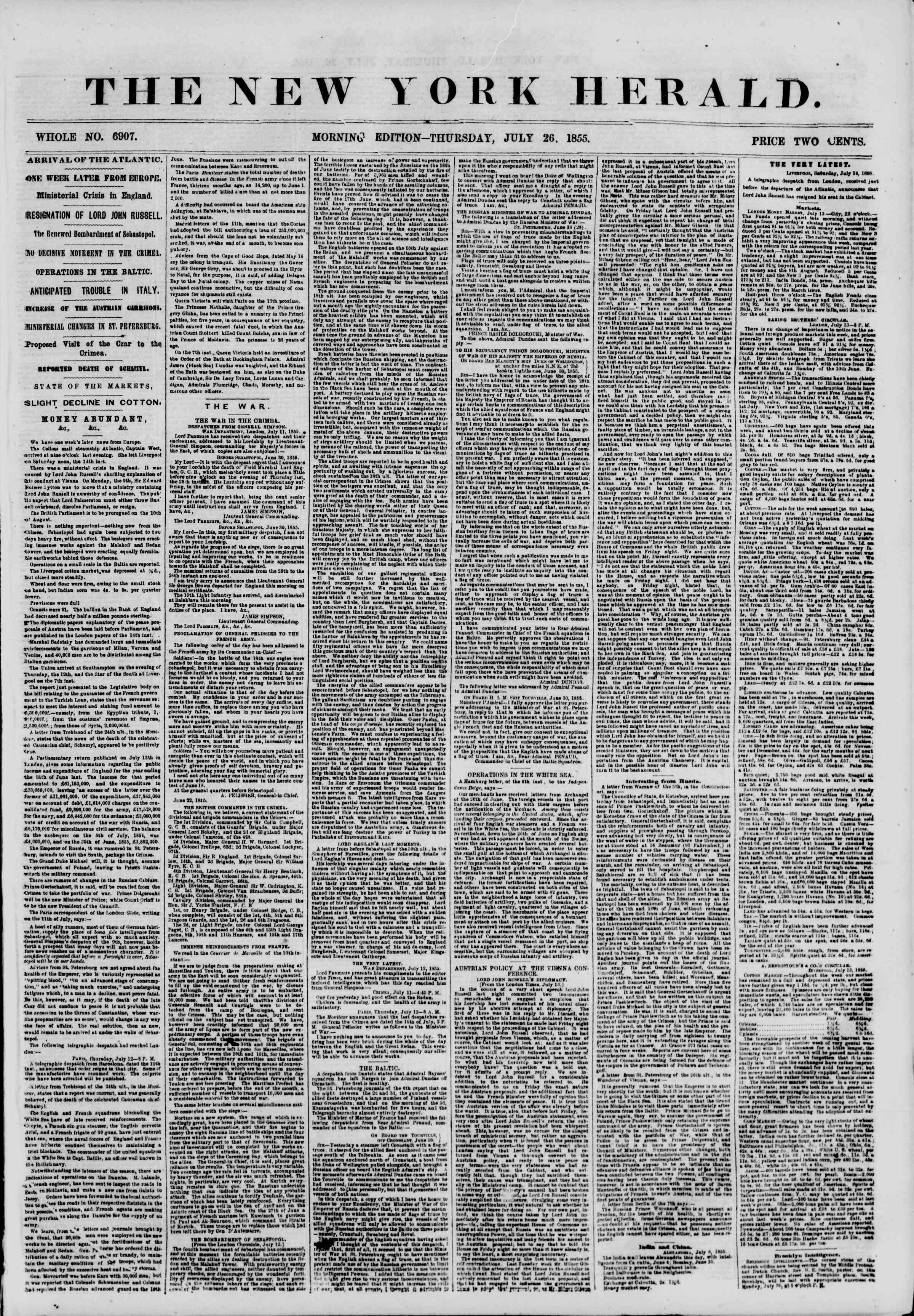 Newspaper of The New York Herald dated July 26, 1855 Page 1