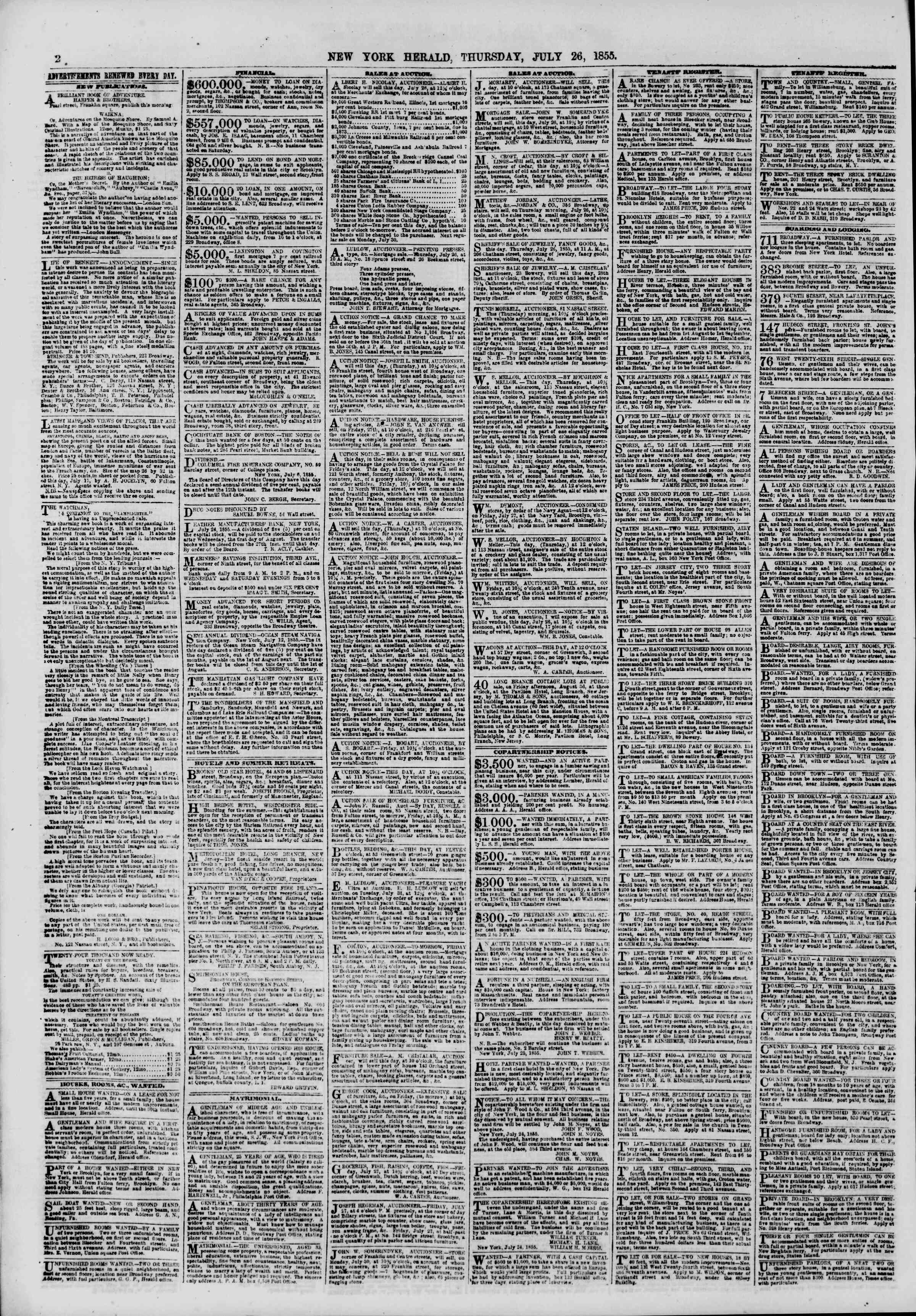Newspaper of The New York Herald dated July 26, 1855 Page 2