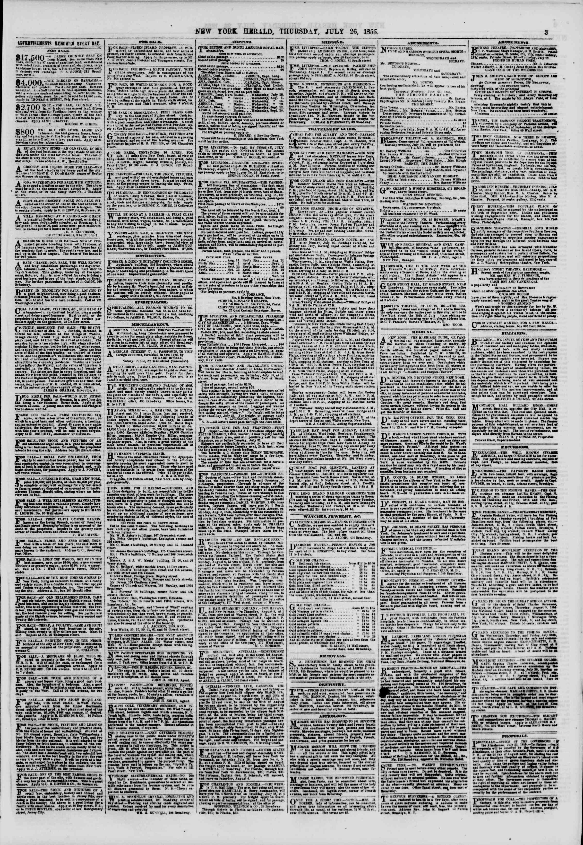 Newspaper of The New York Herald dated July 26, 1855 Page 3