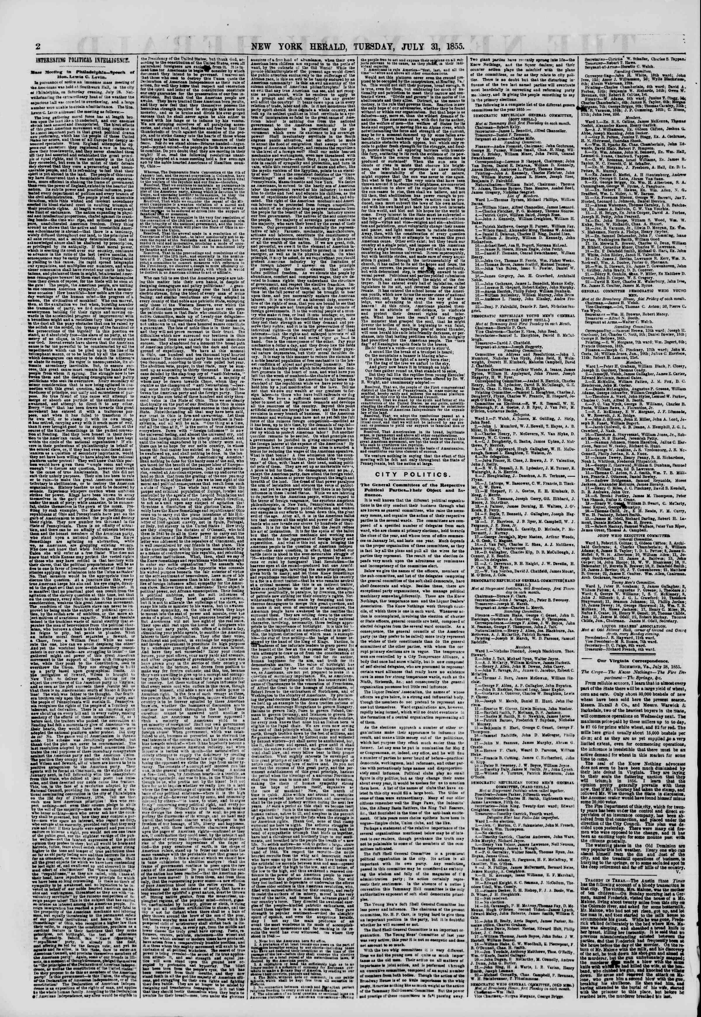 Newspaper of The New York Herald dated July 31, 1855 Page 2