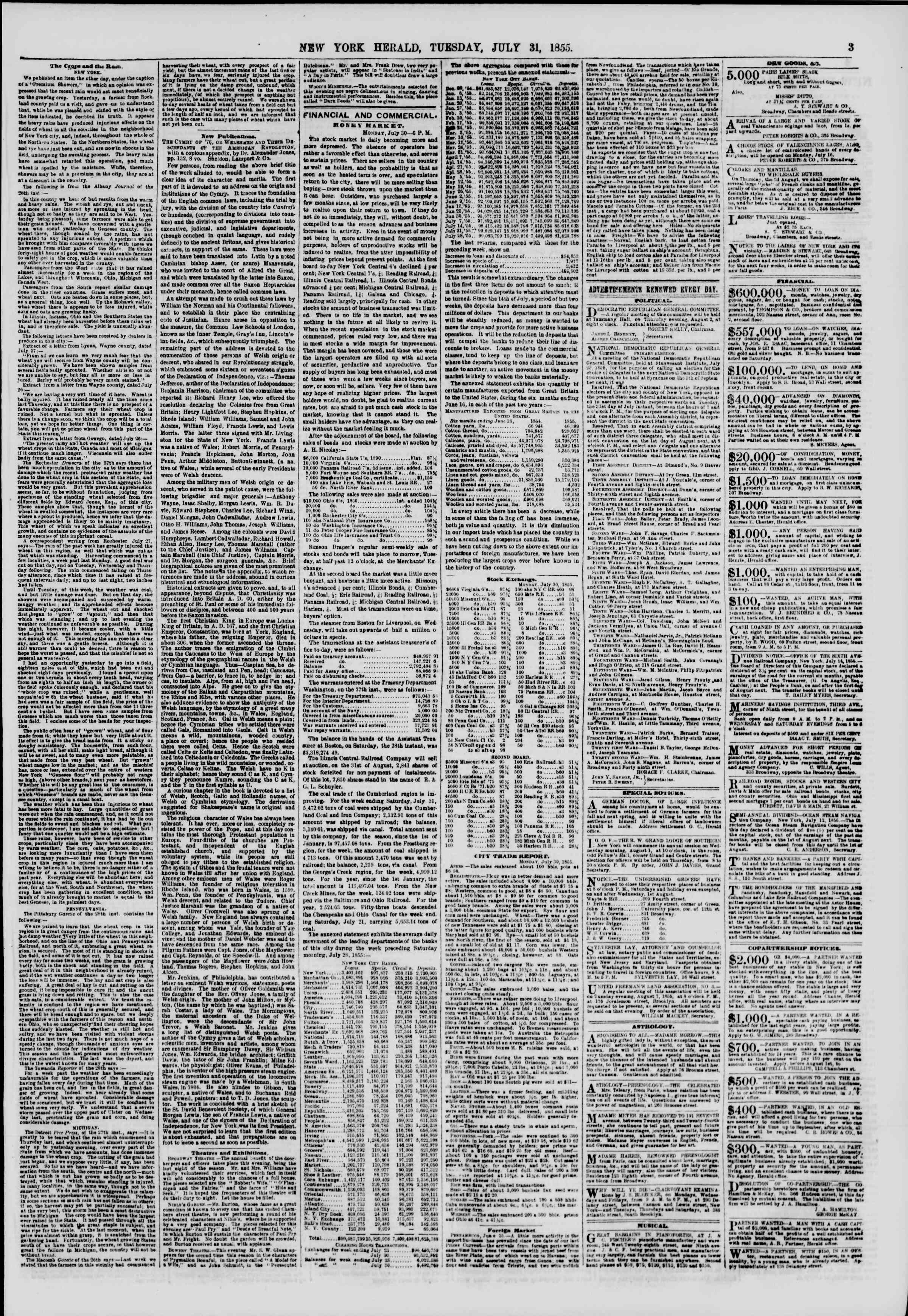 Newspaper of The New York Herald dated July 31, 1855 Page 3